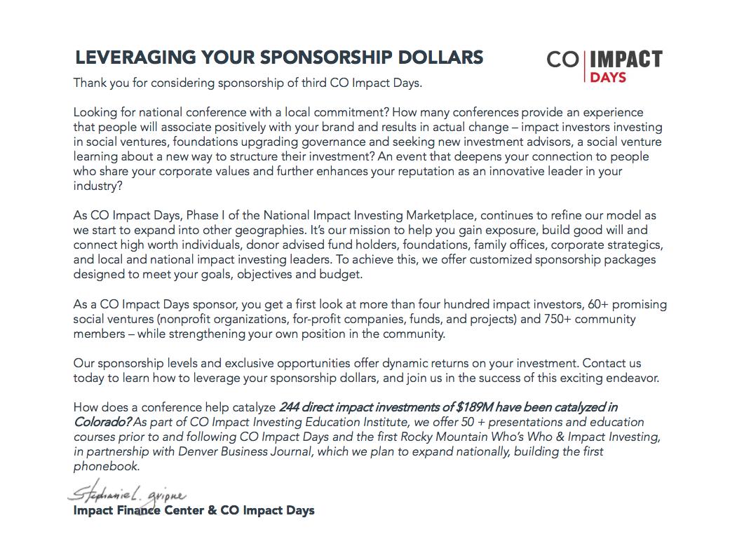 CO Impact Days IFC DBJ Sponsorship — Impact Finance Center