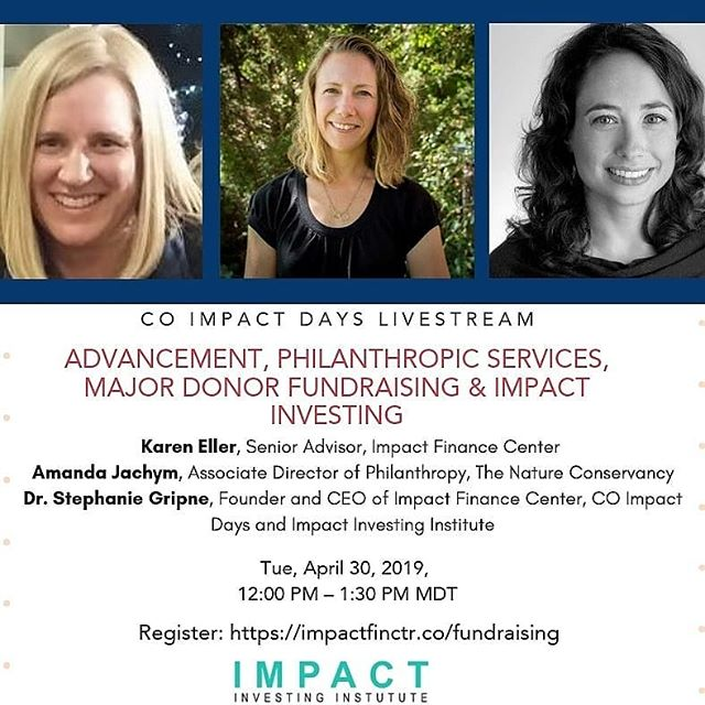Fundraising and Impact Investing? Yes, in addition to major donor gifts, estate planning, and serving on a board, there are 40+ tools you can use to activate a major donor portfolio for the mission of your organization. Whether you work for a University, Community Foundation, or Nonprofit, this course is for you. Scholarships are available.  @coimpactdays @impactfinctr @dr.stephaniegripne @impactfinctr  #philanthropy #advancement #fundraising