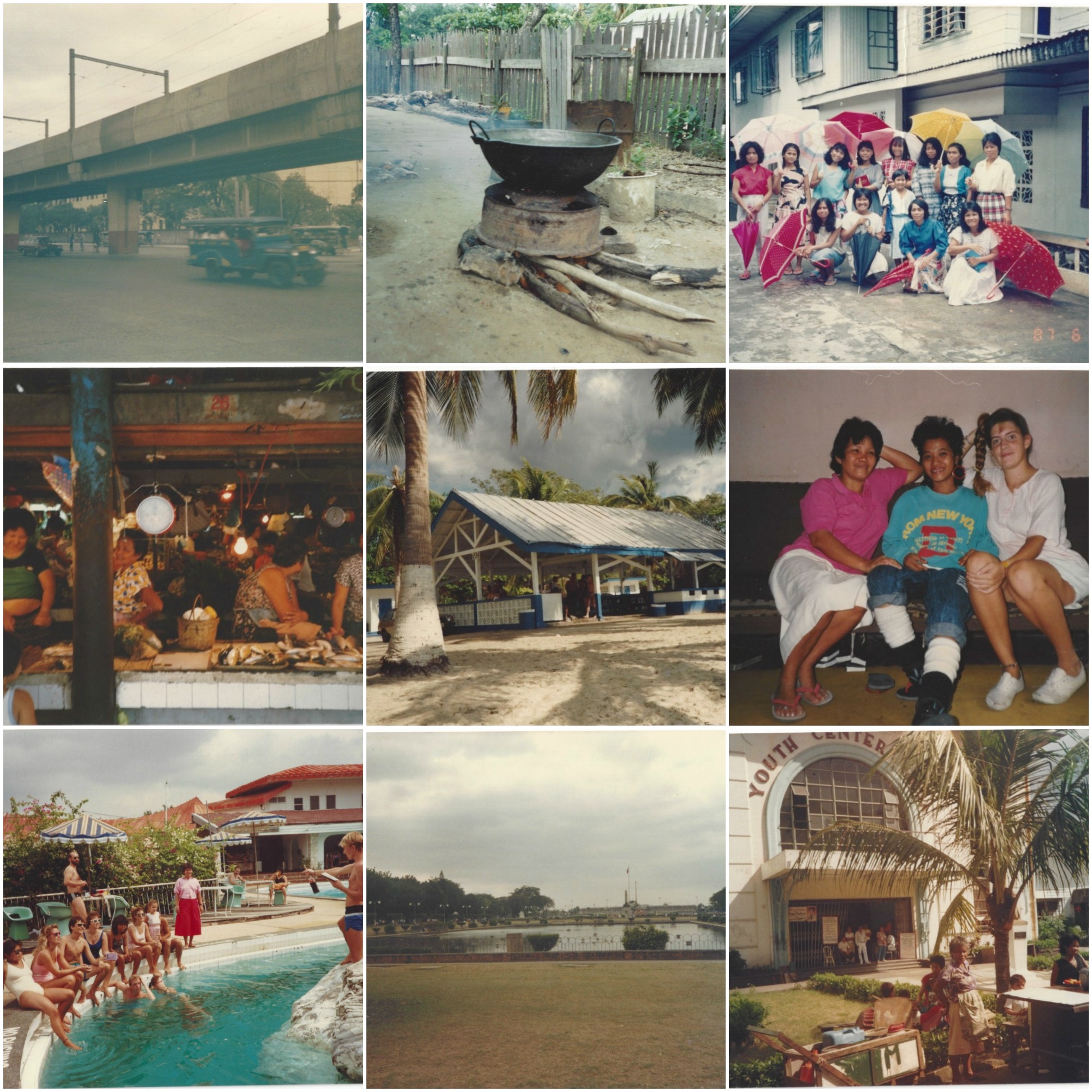 Memories of my Philippines Trip Photo Credit:  Michelle Somers  Top to Bottom 1st Row :  Jeepneys driving by, a cooking pot, the beautiful women we met  2nd Row:   The Olongapo City Market, Beach part of the navy base in Olongapo, (Thelma, Amy and I),  3rd Row:  White Rock, Rizal Park in Manilla, Manilla Youth Centre