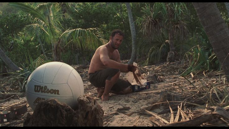 "Tom Hanks in ""Castaway"" with Mr. Willson ball. Photo Credit:  hdmovietrailers.au"