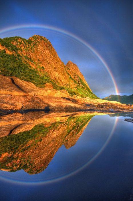 Reflected Rainbow | Senja, Troms, Norway | by Seffis via deviantART