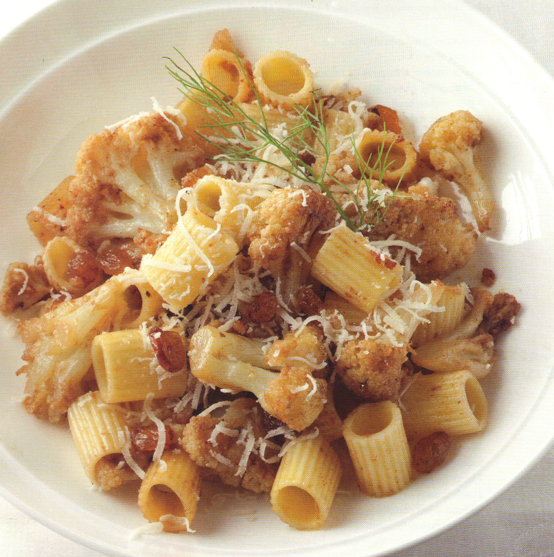 Short Rigatoni with Cauliflower, Anchovies and Raisins