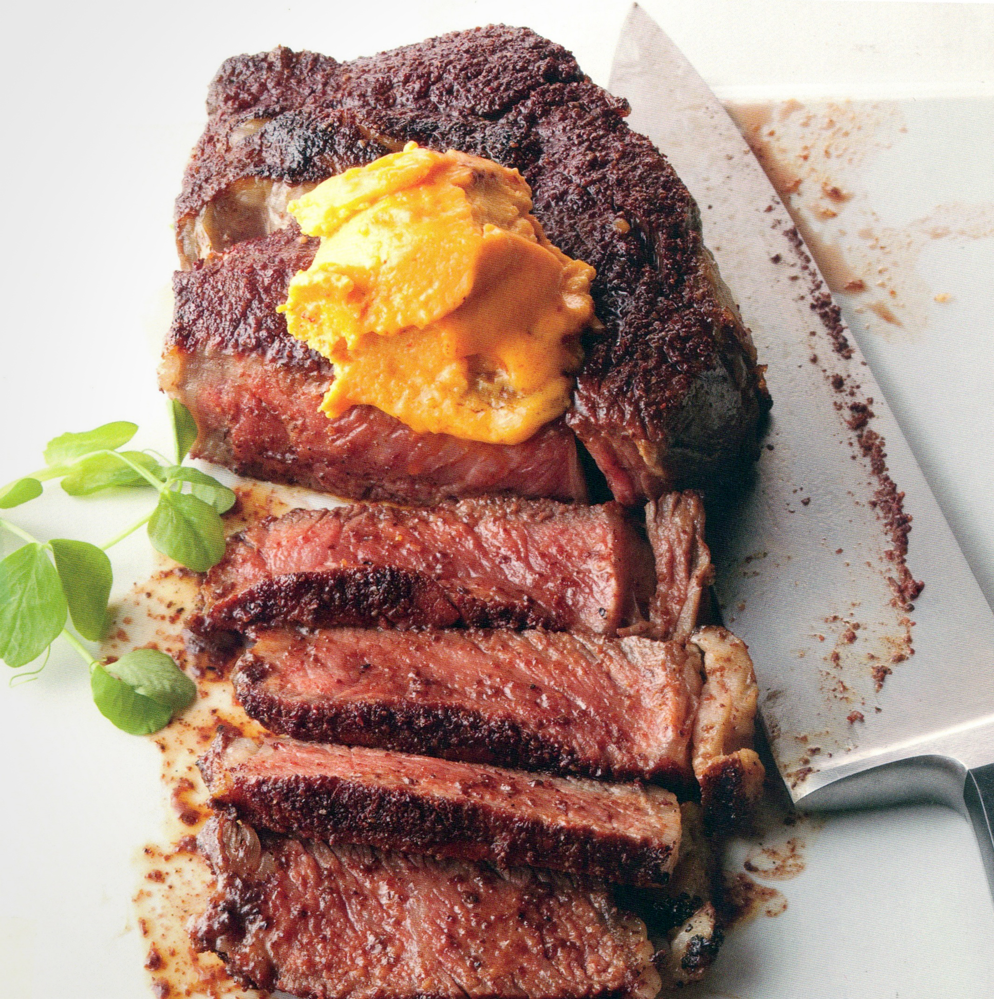 Reddened Rib Eye with Pimiento Cheese