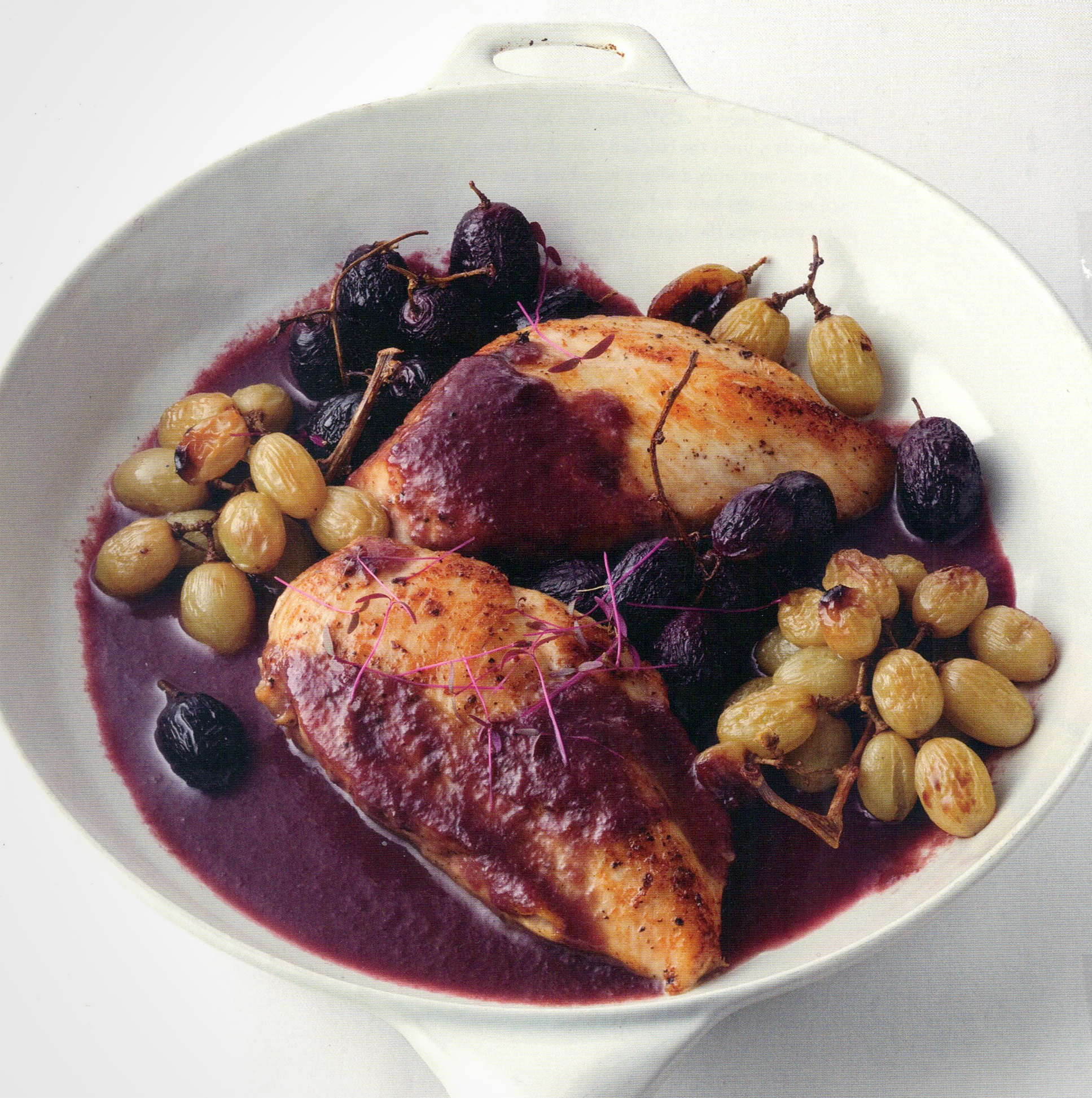Sauteed Chicken with Roast Grapes & Grape Demi-Glace