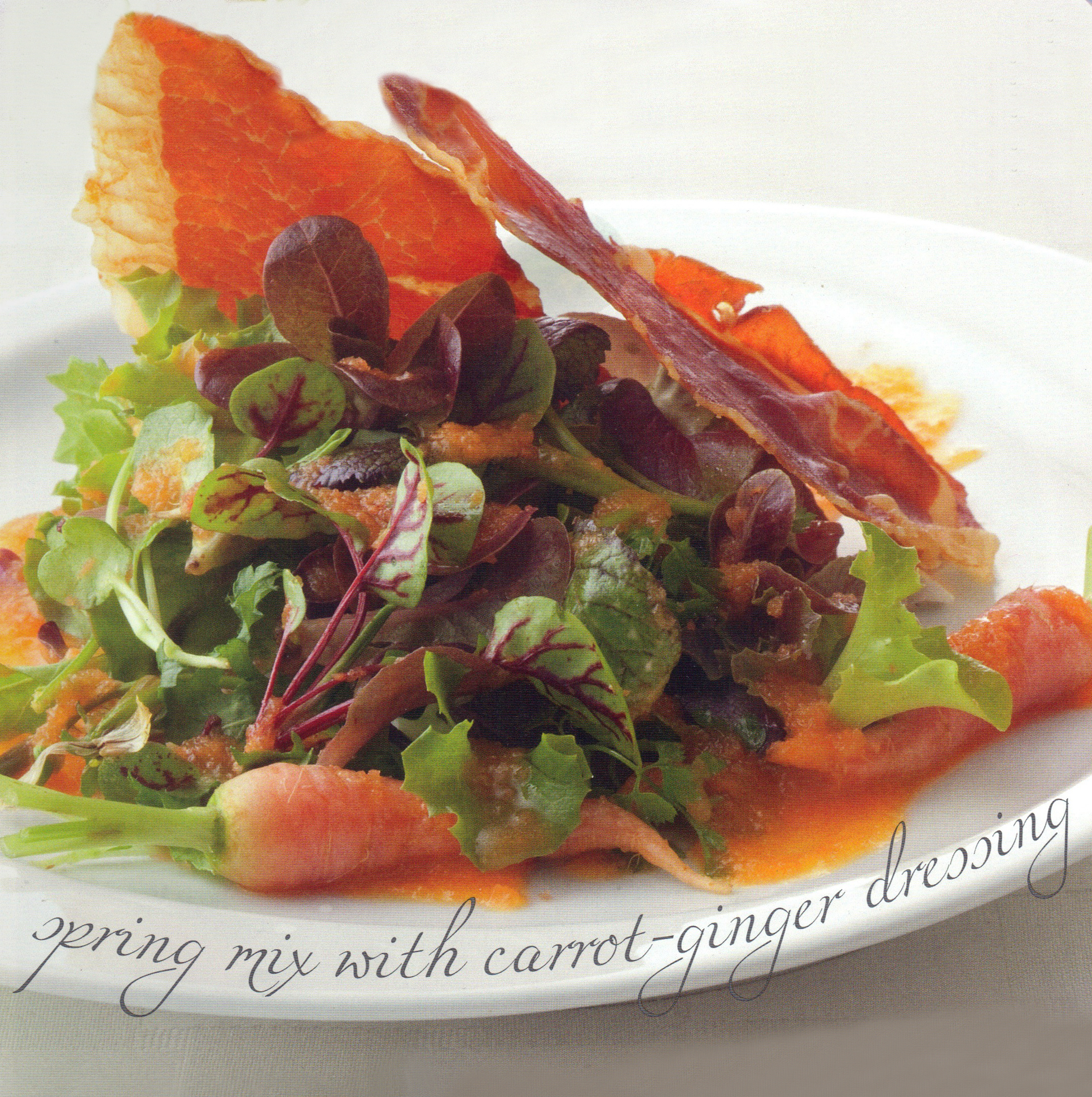 """Spring Mix with Carrot-Ginger Dressing & Prosciutto """"Bacon"""""""