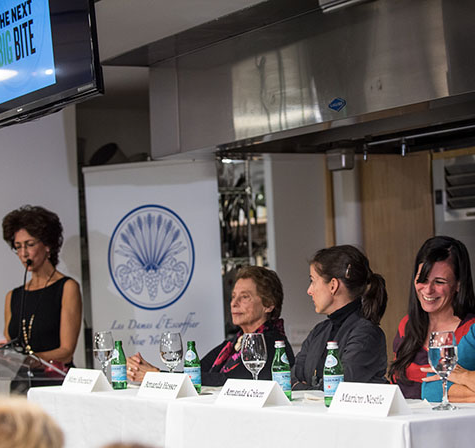 Rozanne moderates The Next Big Bite panel featuring Mimi Sheraton, Amanda  Hesser, Amanda Cohen, and Marion Nestle