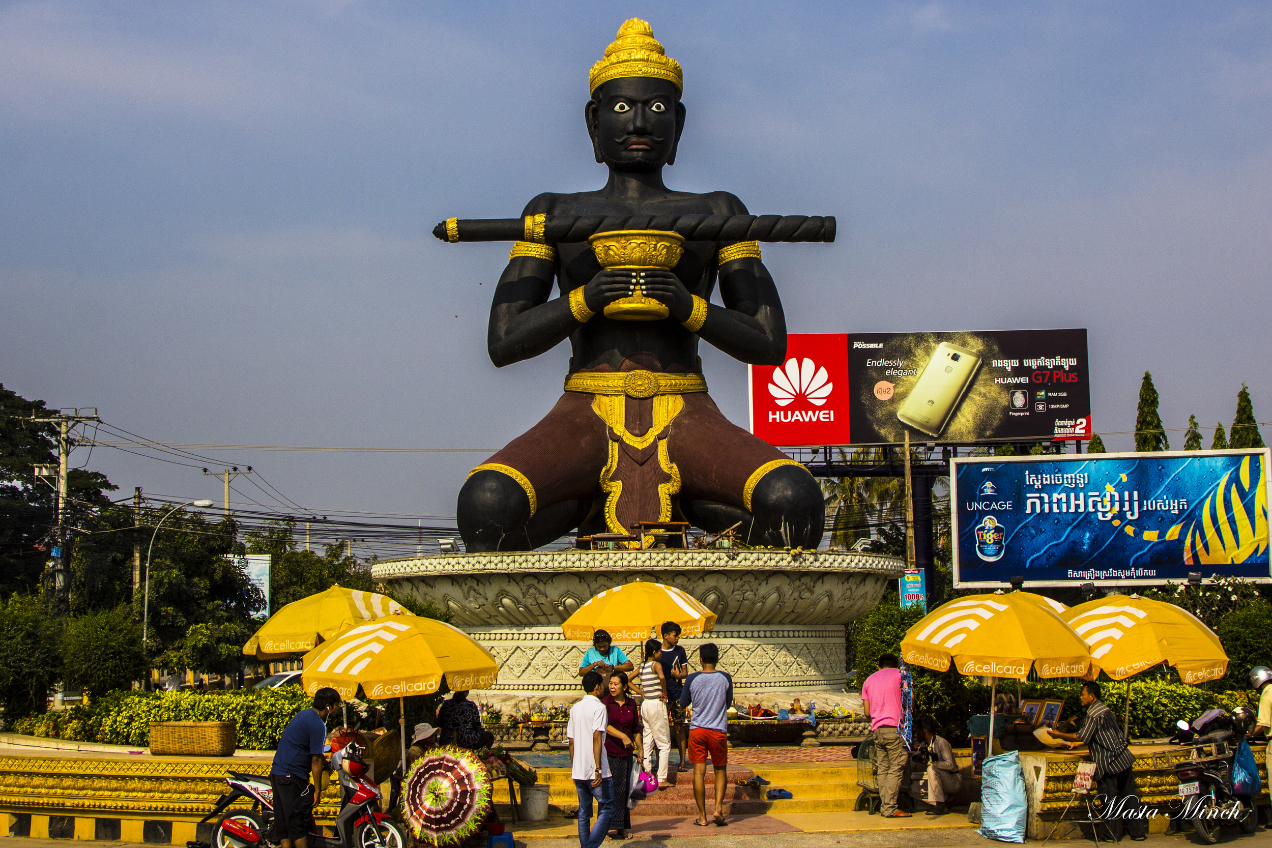 """The statue of Battambang that is basically the city's patron """"saint"""" or guardian. People leave offerings here for their good fortune"""