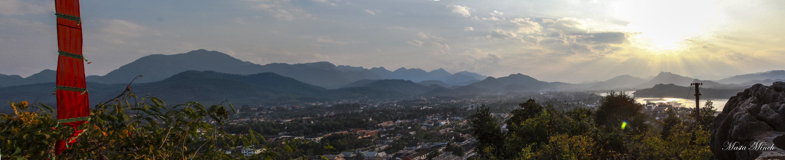 A pano overlooking Luang Prabang as the sun sets