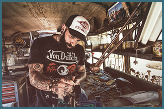 Shot inside the Von Dutch bus.