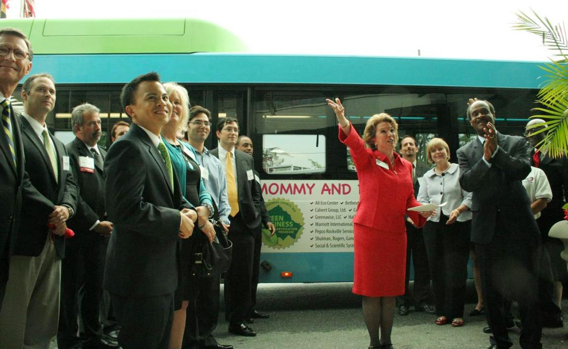 The first ride-on bus campaign to celebrate the green business certification program