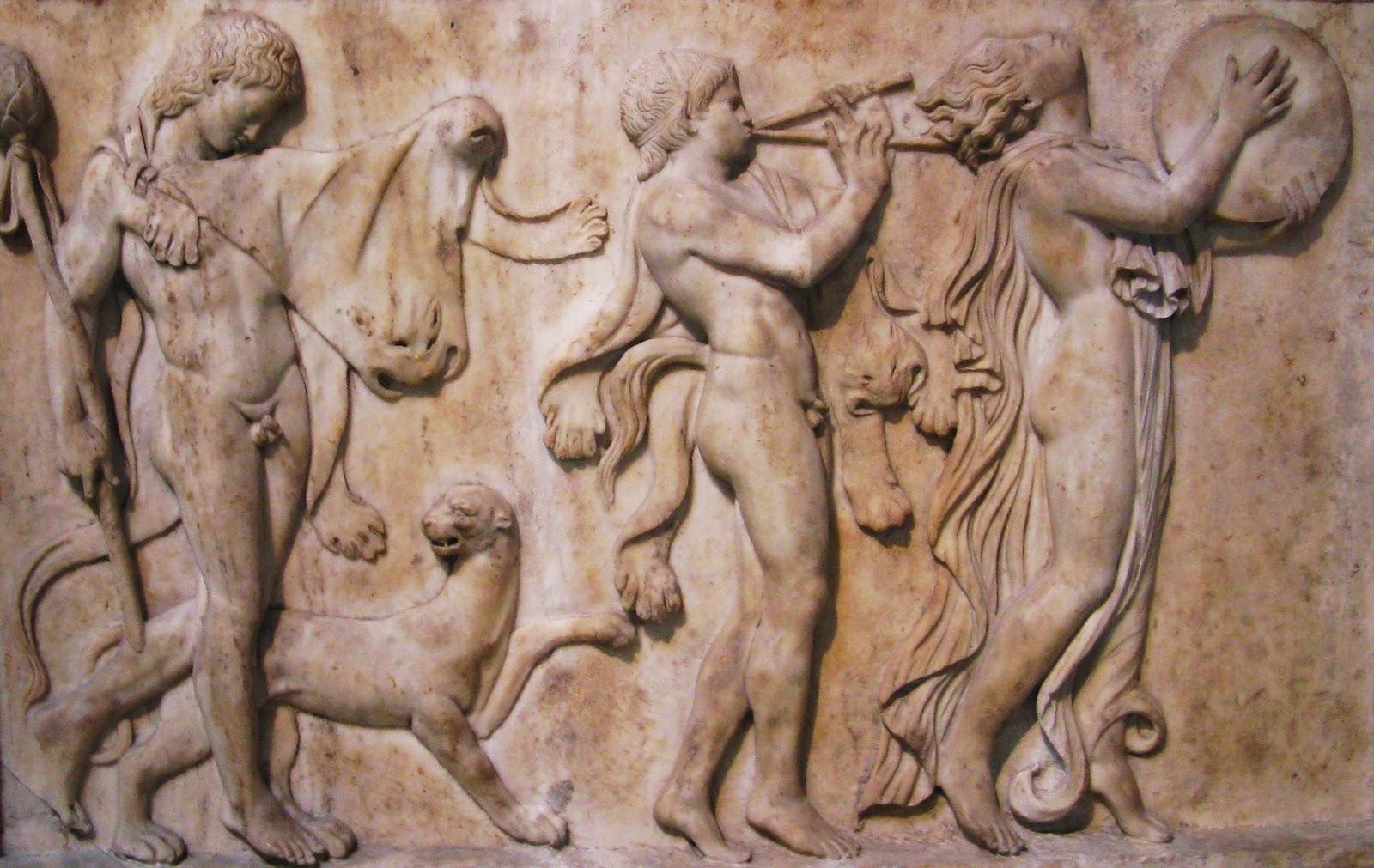 Cortejo dionisíaco, representación del entusiasmo producido por la música y la danza.