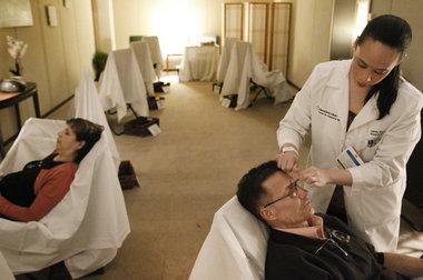 Jamie Starkey, LAc, Lead Acupuncturist at the Cleveland Clinic  Photo via The Plain Dealer