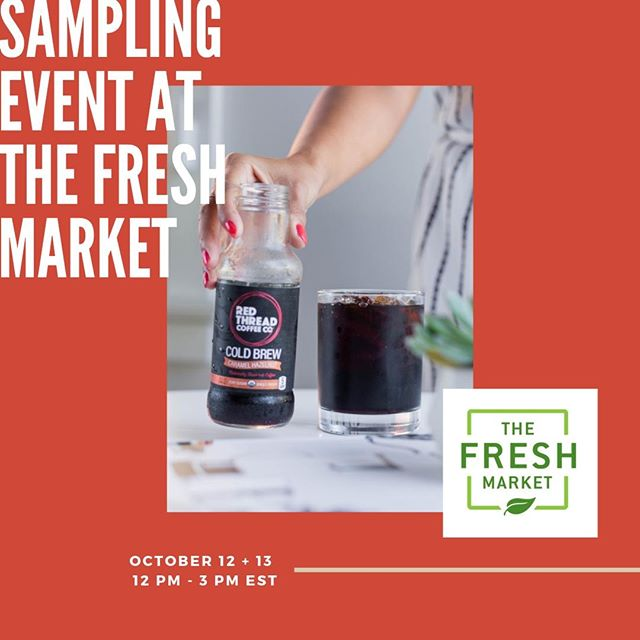 Join us today and tomorrow at all The Fresh Market locations from 12 pm - 3 pm EST for our sampling event! ☕️ You'll get to try all the flavors of our tasty cold brew and connect with our red thread! See you there!  #RedThreadCoffee #ConnectYourRedThread #coldbrew #coffee #organic #fairtrade #nosugar #foodandbeverage #charities #coldbrewcoffee #fairtradecoffee #organiccoffee #nyccoffee #thefreshmarket #wholefoods #makesmewhole #theplacetogofooding #GiantFoodPhotos #stopandshop 