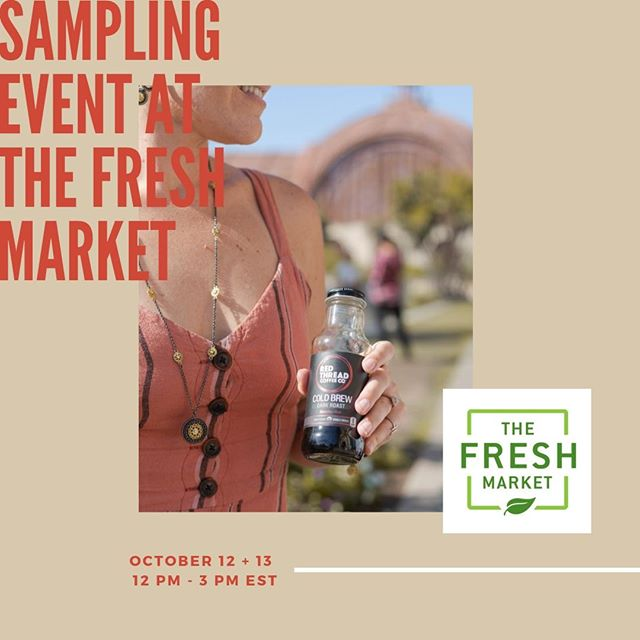 Don't forget to join us at all @thefreshmarket locations TODAY from 12 pm - 3 pm EST for our sampling event! ☕️ We had so much fun yesterday, and we hope to connect with you all again today! See you there!  #RedThreadCoffee #ConnectYourRedThread #coldbrew #coffee #organic #fairtrade #nosugar #foodandbeverage #charities #coldbrewcoffee #fairtradecoffee #organiccoffee #nyccoffee #thefreshmarket #wholefoods #makesmewhole #theplacetogofooding #GiantFoodPhotos #stopandshop 