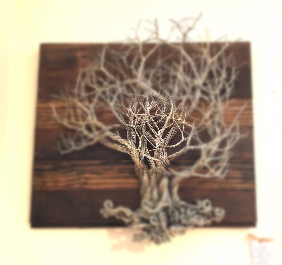 Metal scuplture on wood - tree of life - LOVE