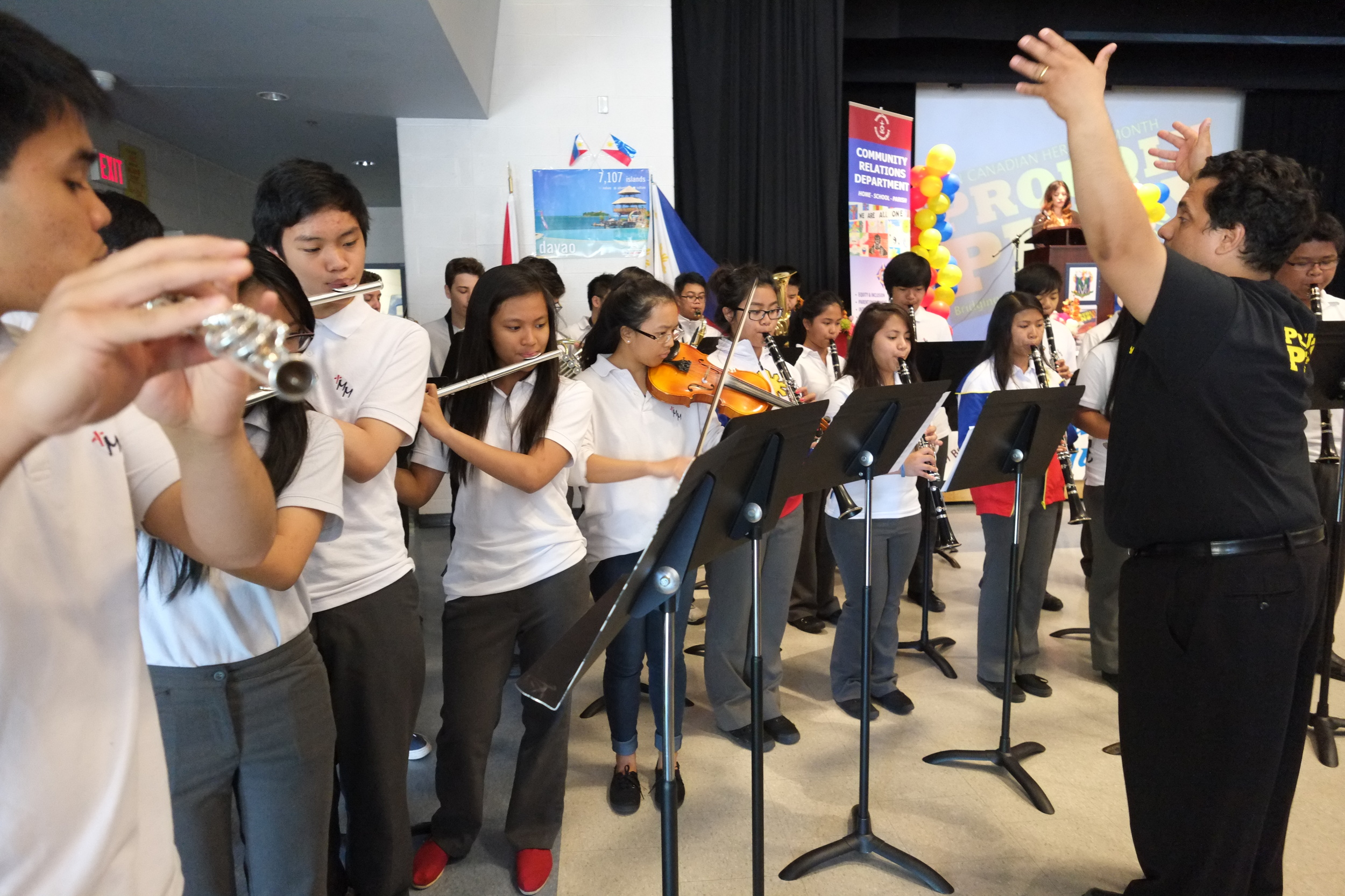 The Marshall McLuhan CSS school band playing the   Philippine   National Anthem. Photo by JC Bonifacio.