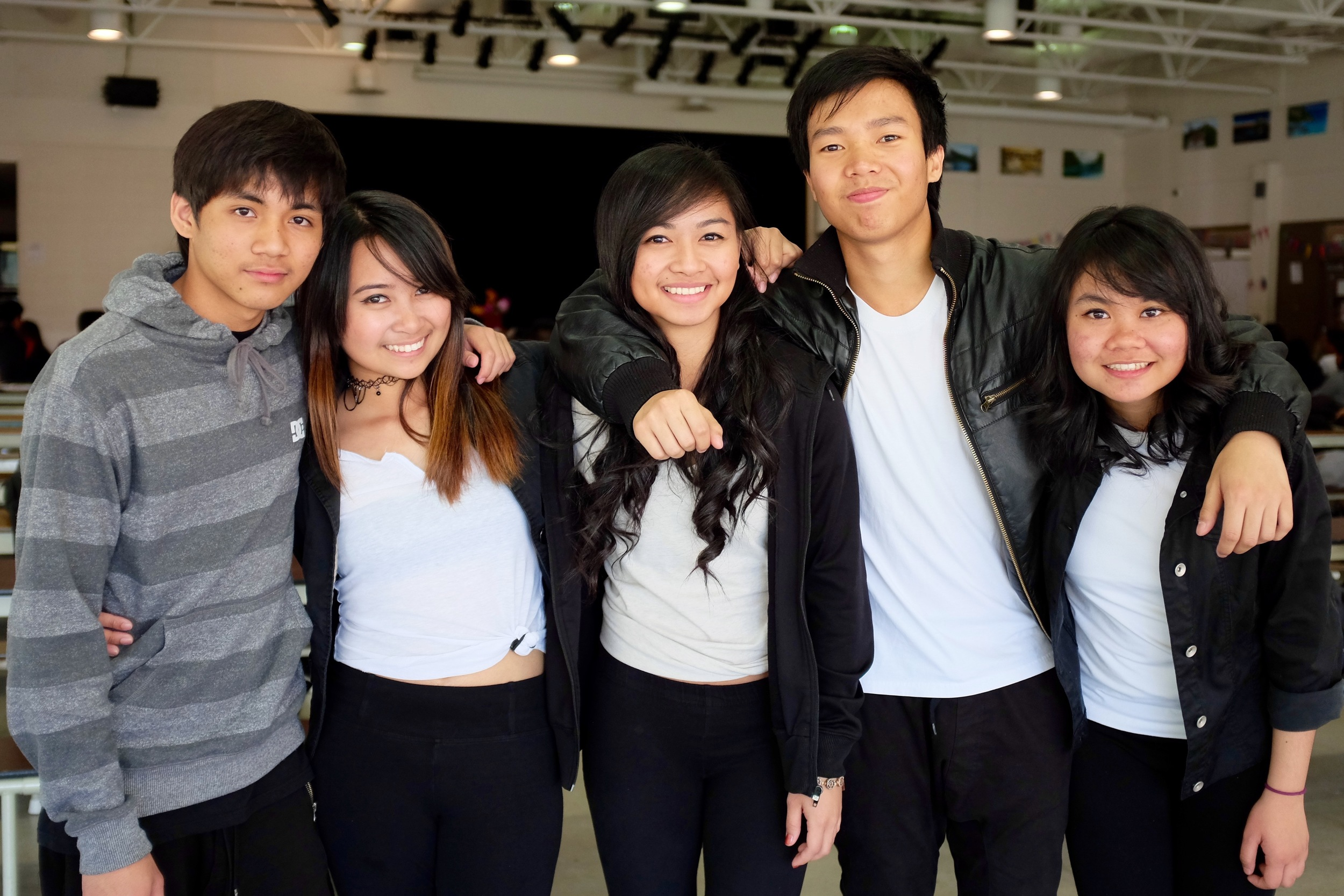 Lee Christopher D. Arciosa, Jamille Genson, Jessa Calantoc, Marc Kerwin V. Fernando, and Glyza Mae Prudencio of Ohana, a dance crew from Northview Heights Secondary School.