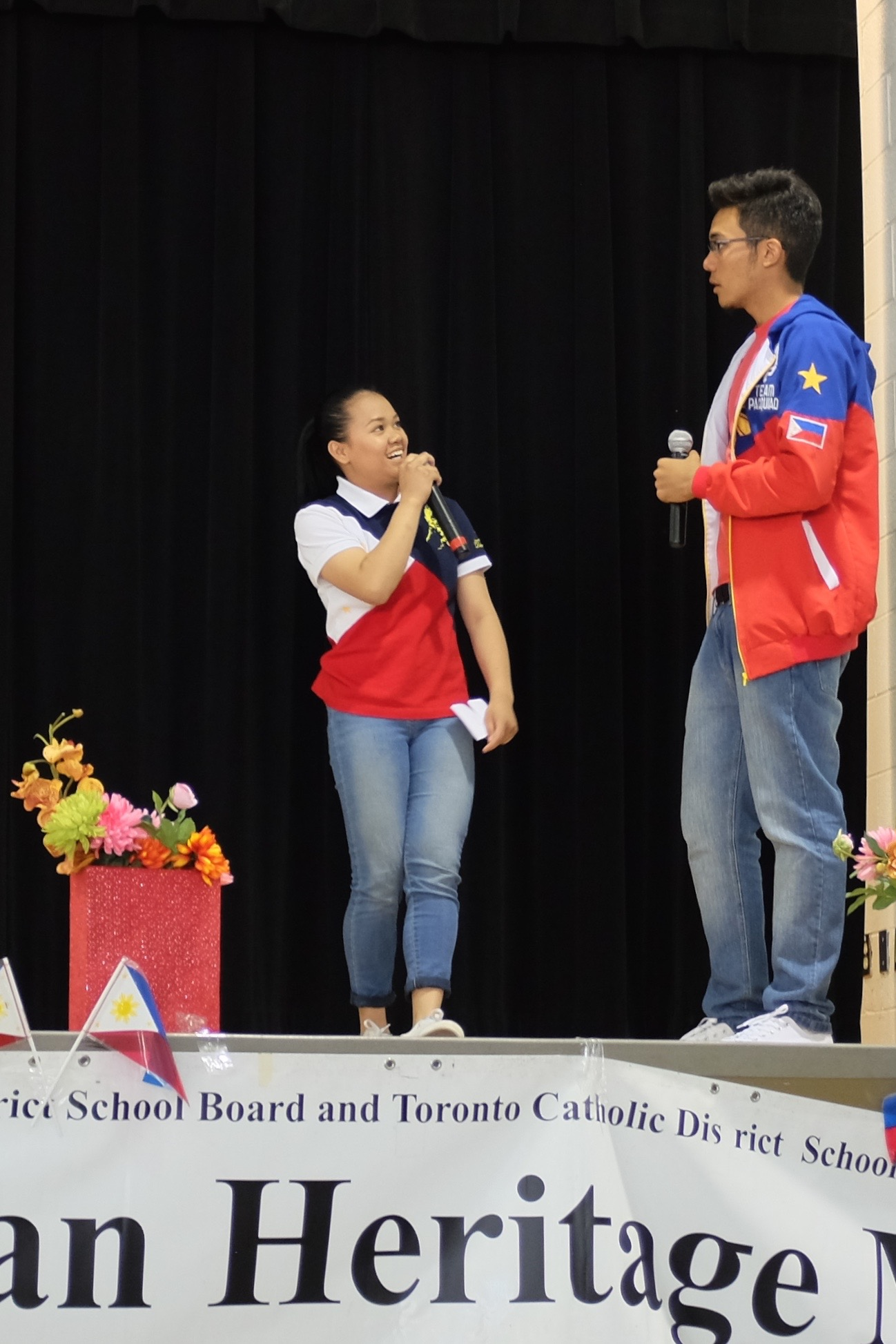 Student emcees Kathrine de Leon and Domenico Gaudino Jr. from James Cardinal McGuigan.