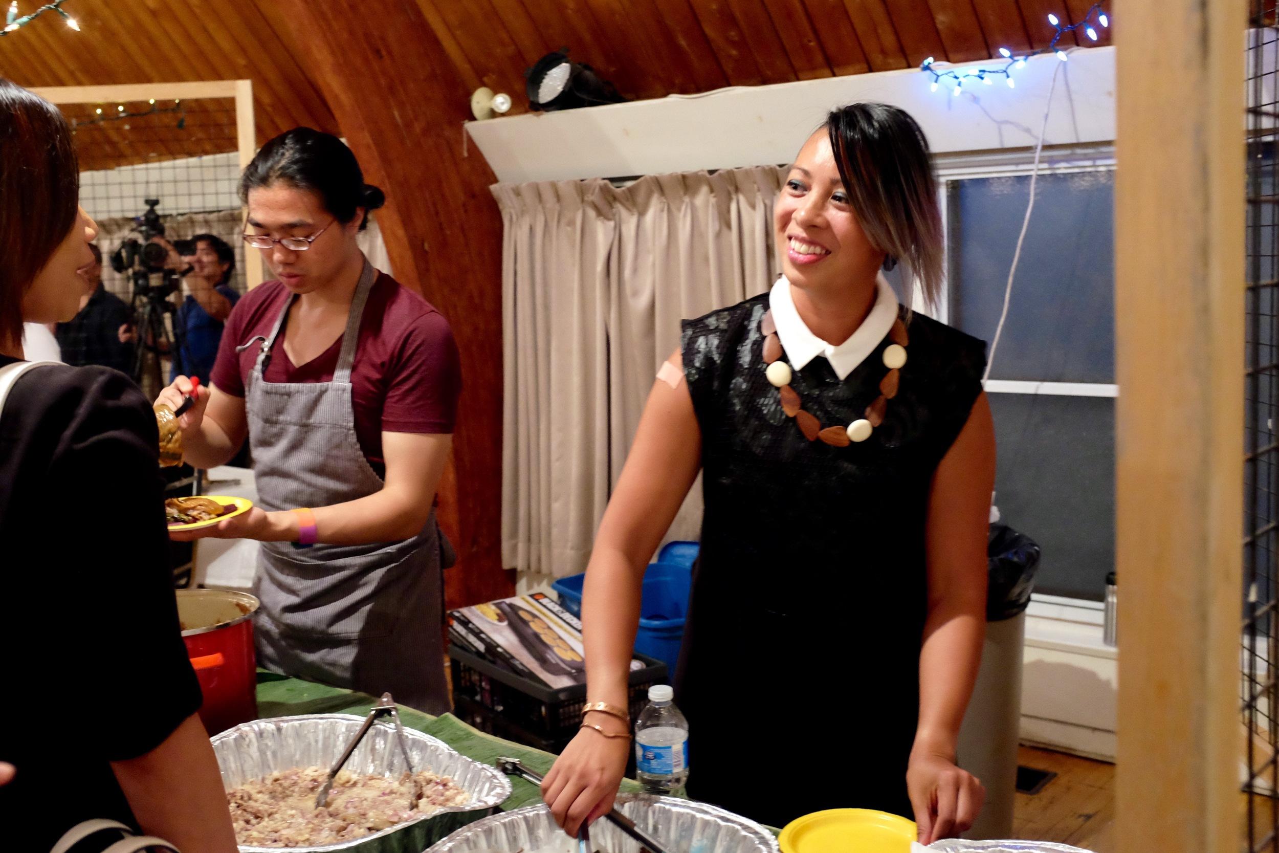 Gilbuena serving kare-kare poutine with ube fries. Photo by JC Bonifacio