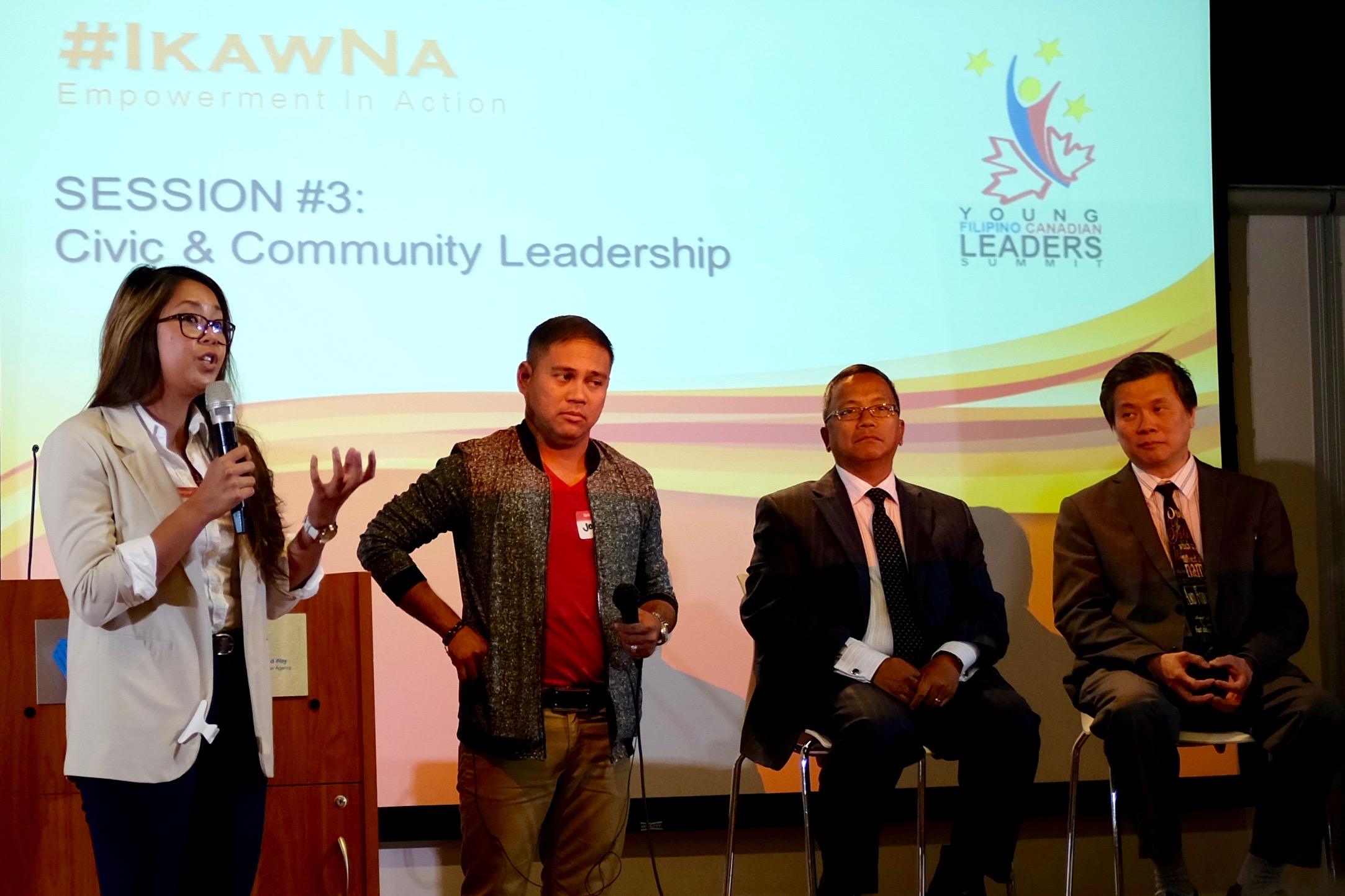 Veronica Javier speaking about the current Filipino-Canadian youth leadership movement in Toronto. Photo by J. Austria