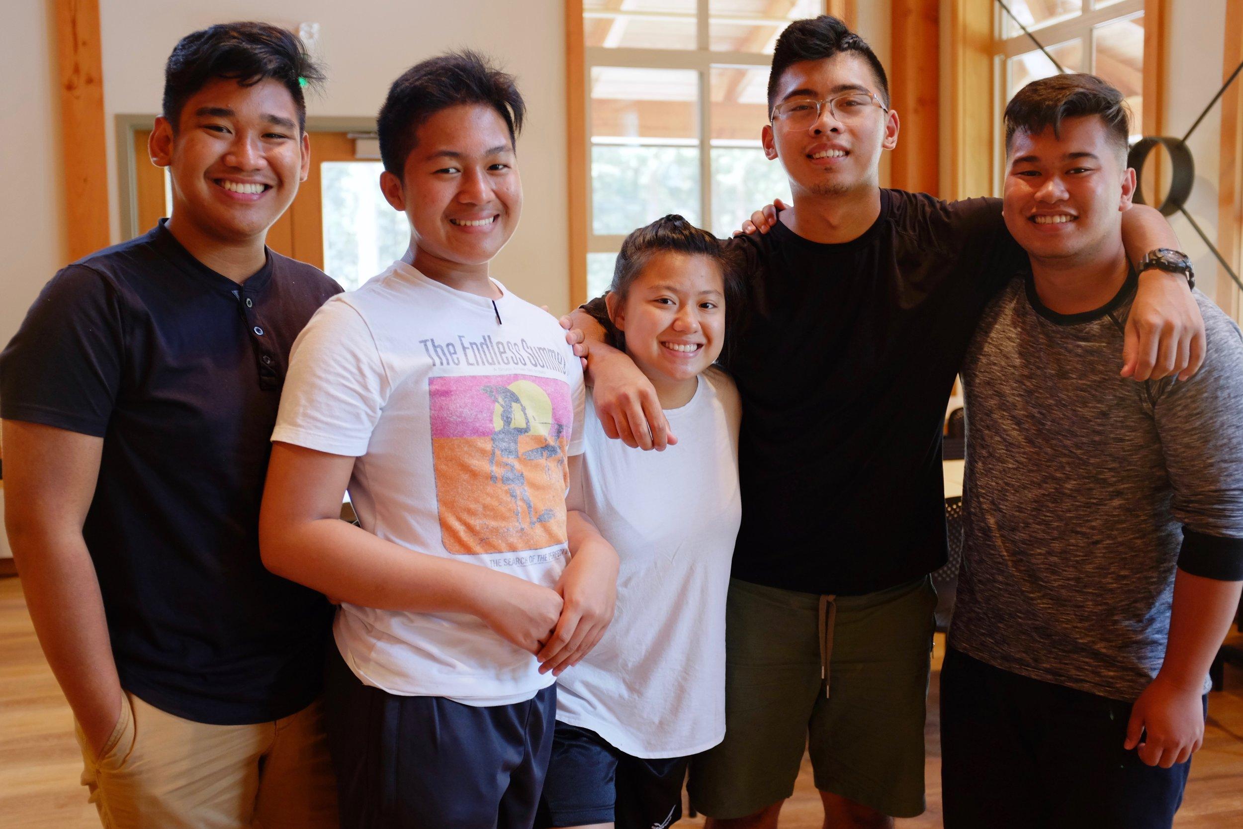 Torontonian Gino Amboang (left) with Jomar Calayan, Thea Melodias, M-jay Frias, and Mark Orayen. Photo by J. Austria.