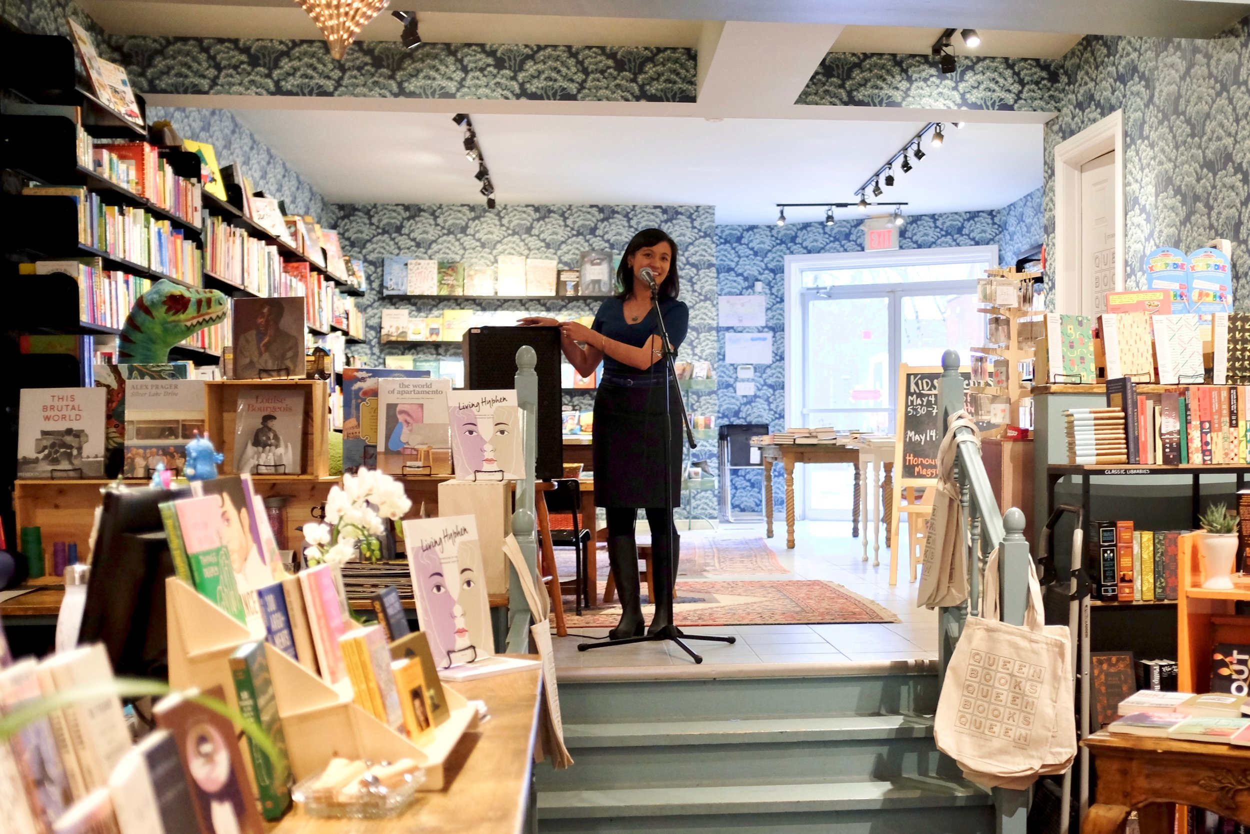"Presenting ""6 Writing Tips from Wayson Choy"" for Living Hyphen at Queen Books. Photo by Justine Yu."