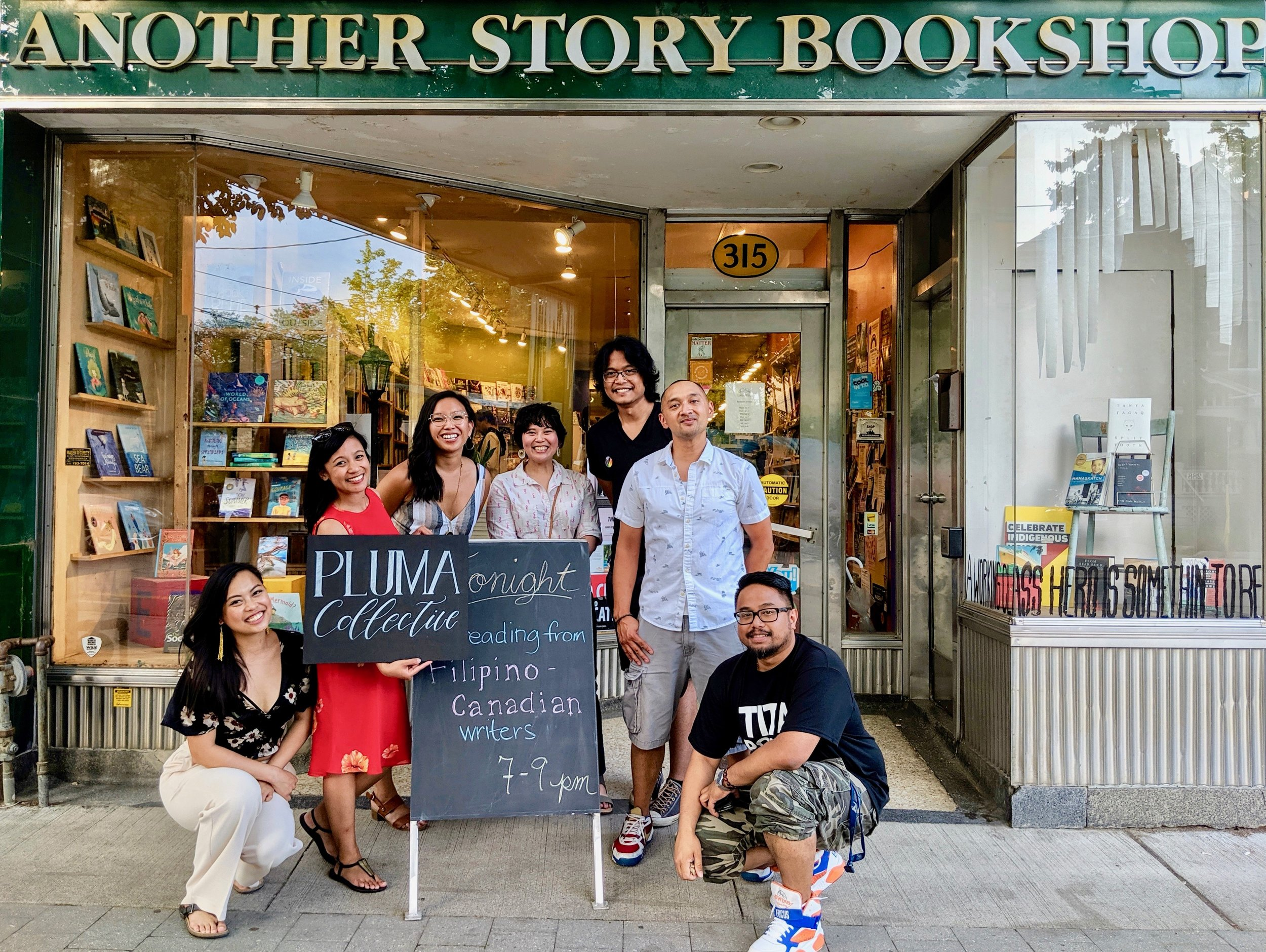 At Another Story Bookshop with members of Pluma, a collective of Filipino-Canadian writers. From L-R: Maria Patricia Abuel, Jennilee Austria, Justine Abigail Yu, Nastasha Alli, ML Gamboa, Yves Lamson, and Eric Tigley. Photo by Jovie Galit.