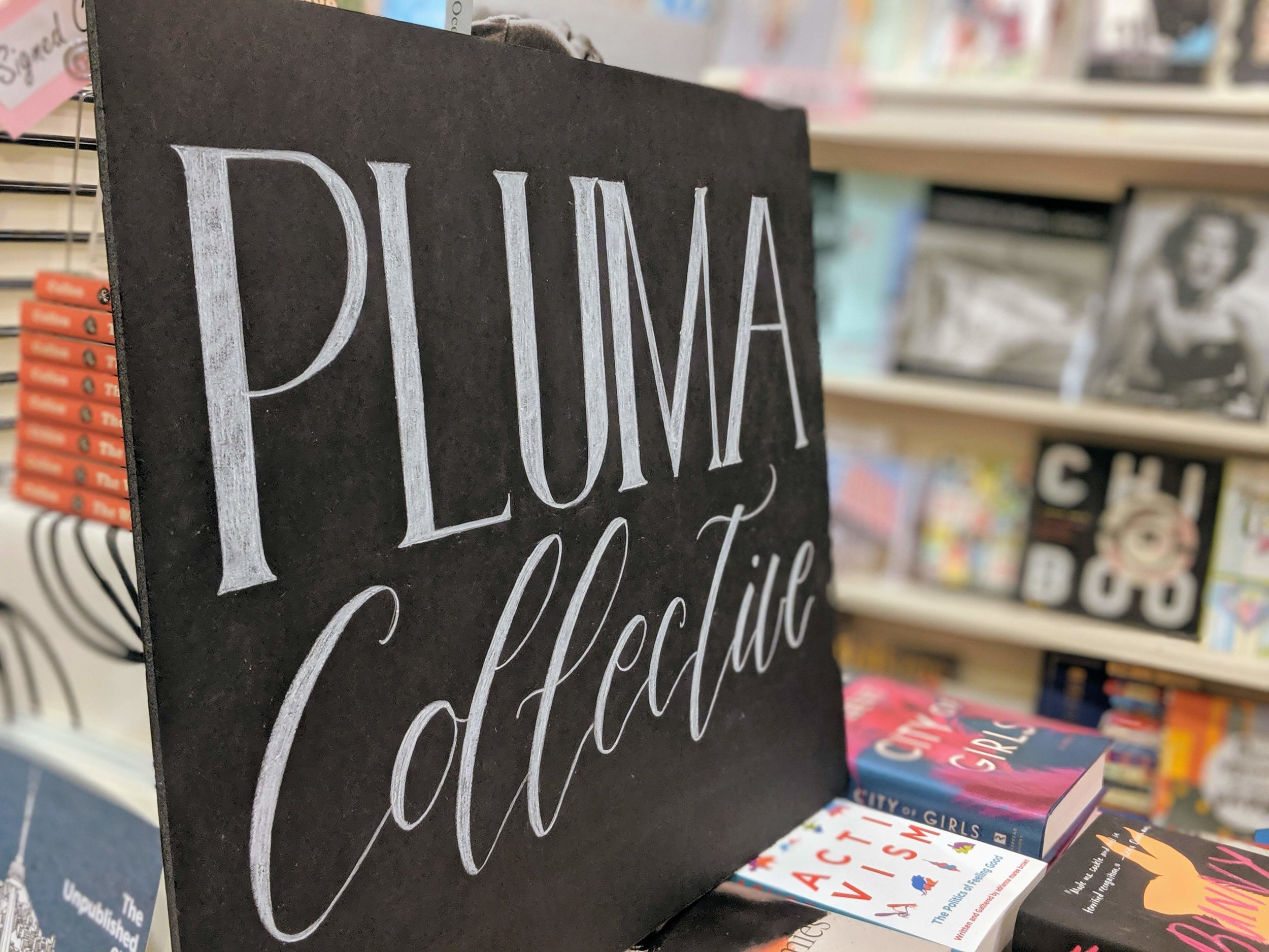 Pluma is a collective of Filipino writers who are dedicated to contributing to Canadian literature. Signage by  Pinya Letters.  Photo by Jovie Galit.