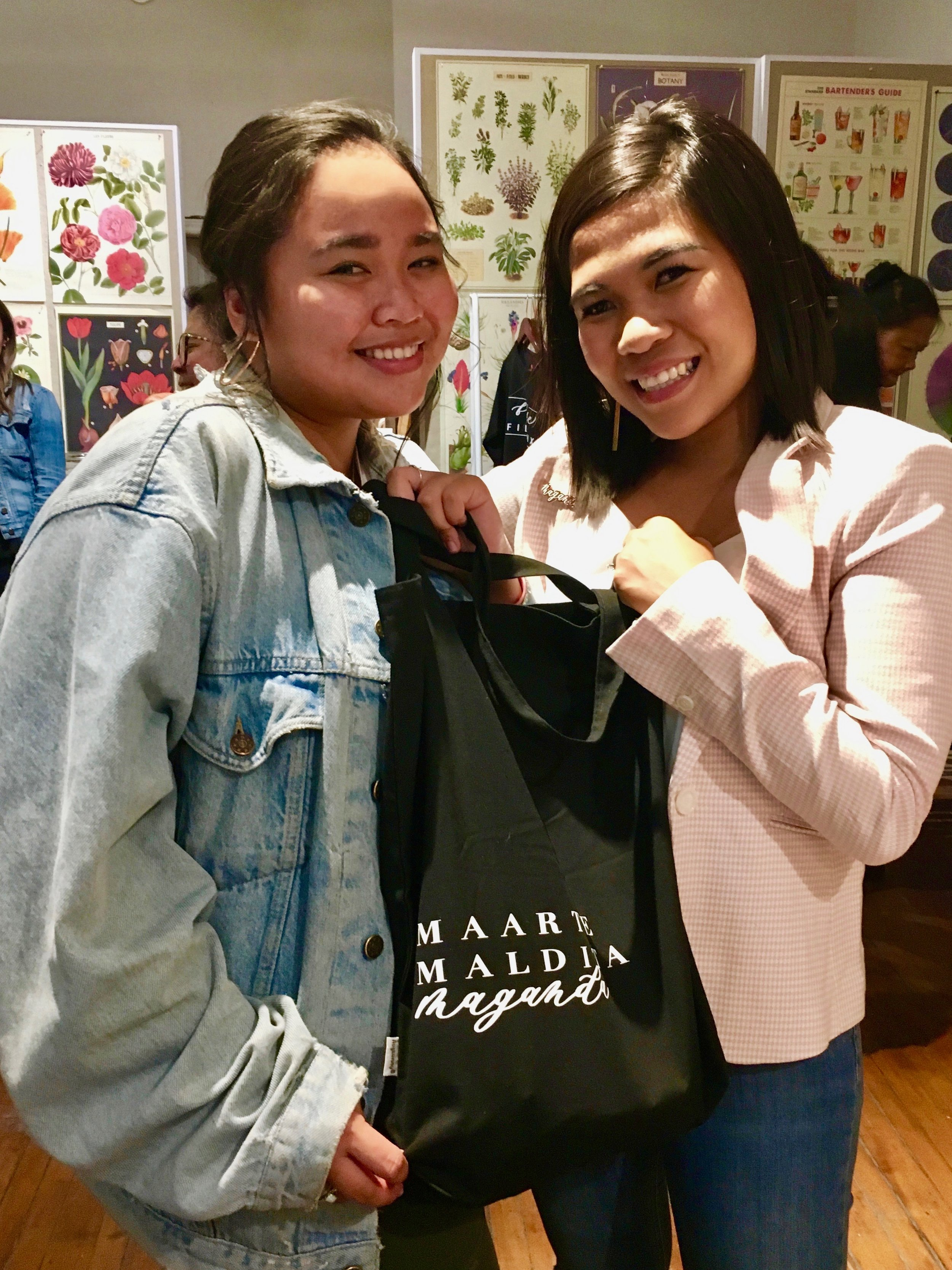 Khela Maquiling with Galit and her new Maarte, Maldita, Maganda tote bag. Photo by J. Austria