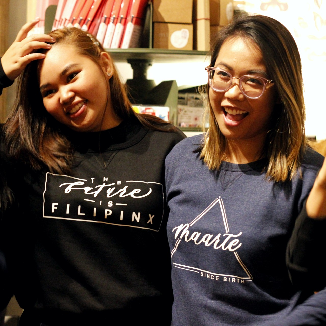 Showing off their sweatshirts from the newly-launched Pinay Collection. Photo by Dinaly Tran