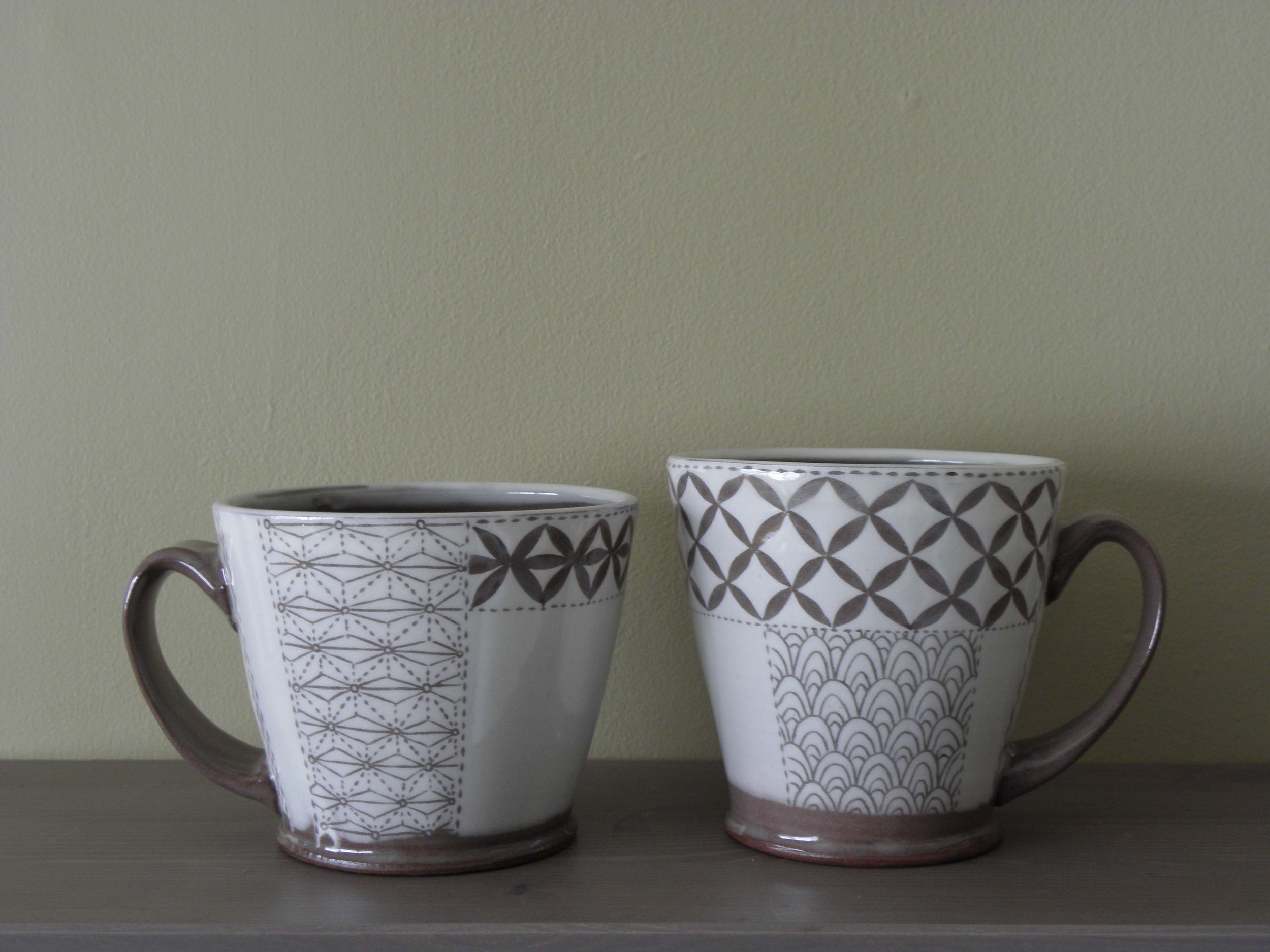Pattern Swatch Mug Pair, indoors