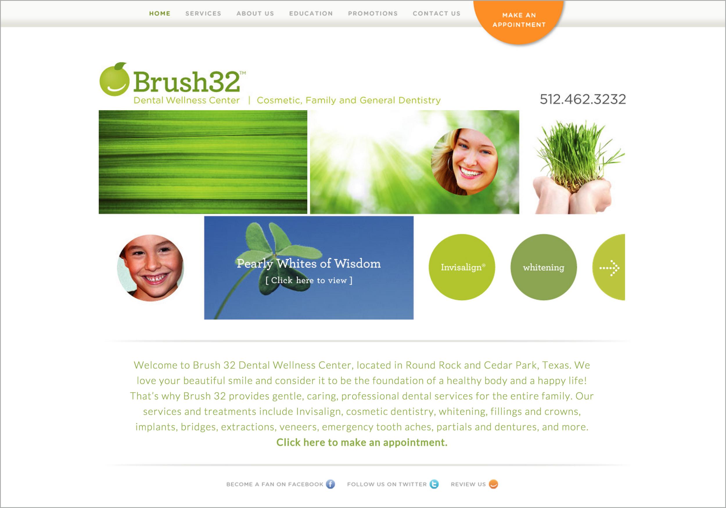 Brush32 Dental Wellness Center Website | Cosmetic and General Dentistry | DesignCode | Austin, Texas