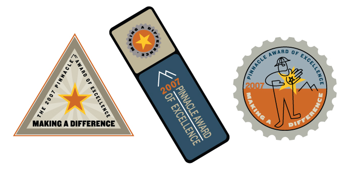 Illustration Design for patches for award of excellence Pinnacle   | DesignCode | Austin, Texas
