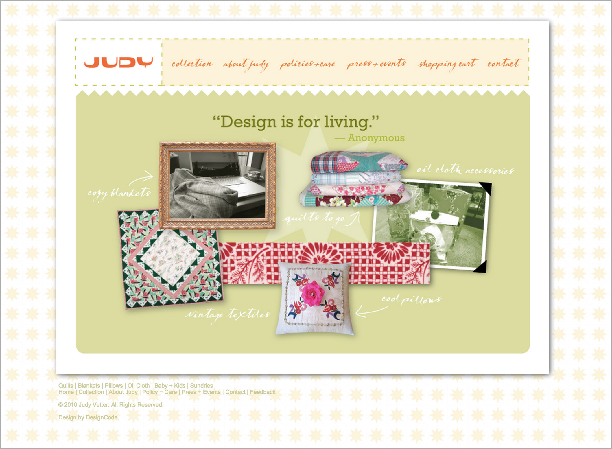 Judy Vetter Quilts, Dallas, Website Design | DesignCode | Austin, Texas