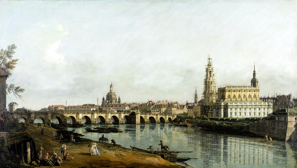 Antonio Giovanni Canaletto,  Dresden Seen from the Right Banks of the River Elbe below the Augustus Bridge
