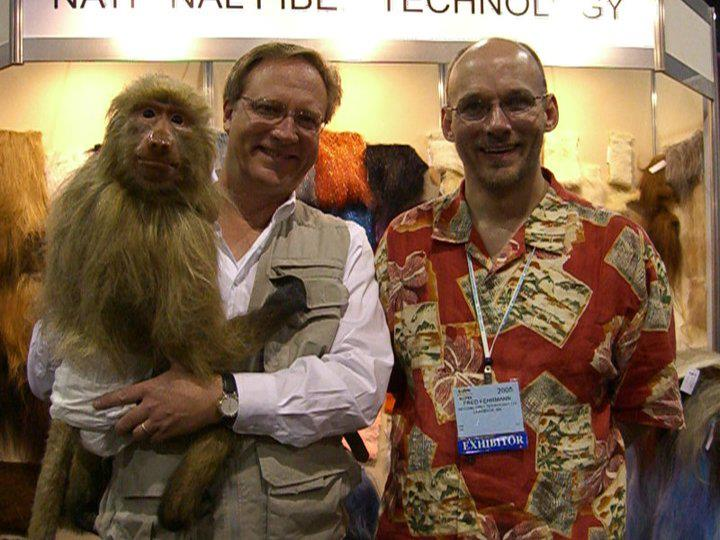 Babs the Baboon and Jim Boulden of Animal Makers with Fred at the IAAPA Show