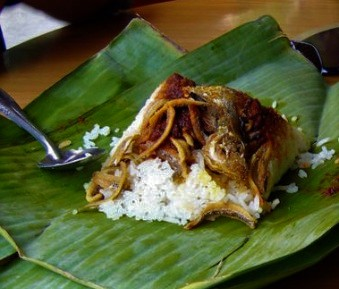 Homemade lunches wrapped in banana leaves