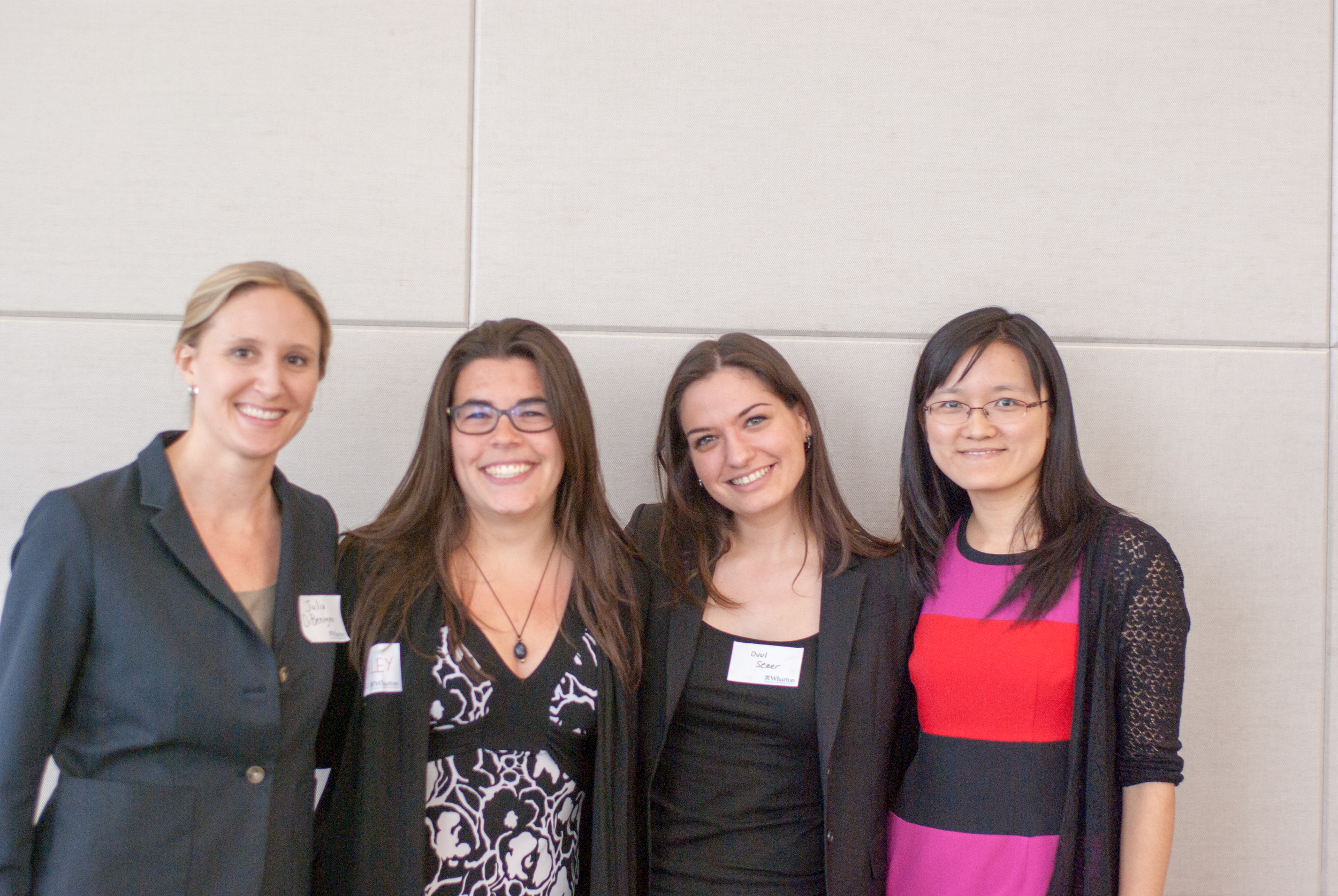 PHD STUDENT PRESENTERS (FROM lEFT TO rIGHT): jULIA dIBENIGNO,  MIT ; ASHLEY MARTIN,  cbs ; OVUL SEZER,  HBS;  AND HENGCHEN DAI,  wharton   (aYUNG tSENG,  cbs , ABSENT FROM PHOTO)