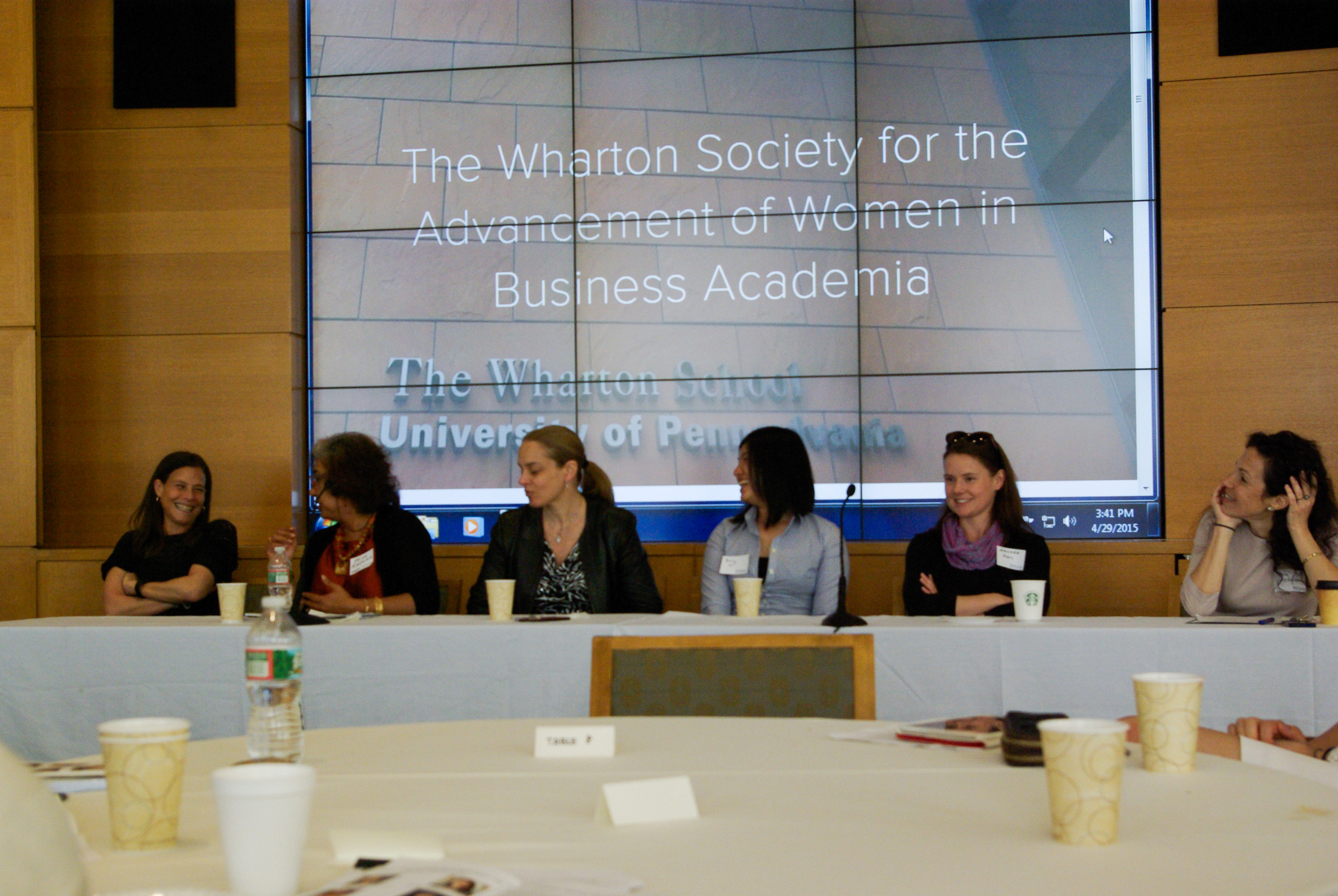 FACULTY PANEL (FROM LEFT TO RIGHT): BARBARA KAHN,  THE WHARTON SCHOOL (MARKETING) ; PRIYA RAGHUBIR,  nyu sTERN sCHOOL OF BUSINESS (mARKETING) ; lORI ROSENKOPF,  tHE wHARTON sCHOOL (mANAGEMENT) ; pO-LING LOH,  tHE wHARTON sCHOOL (STATISTICS) ; aMANDA sTARC,  tHE wHARTON sCHOOL (hEALTHCARE mANAGEMENT) ; aMY sEPINWALL,  tHE wHARTON sCHOOL (eTHICS & lEGAL sTUDIES)