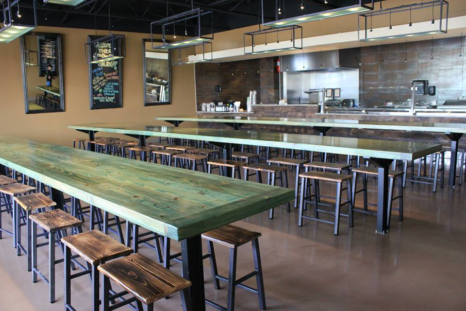 Green Snappy Tables   Wood Top Stools