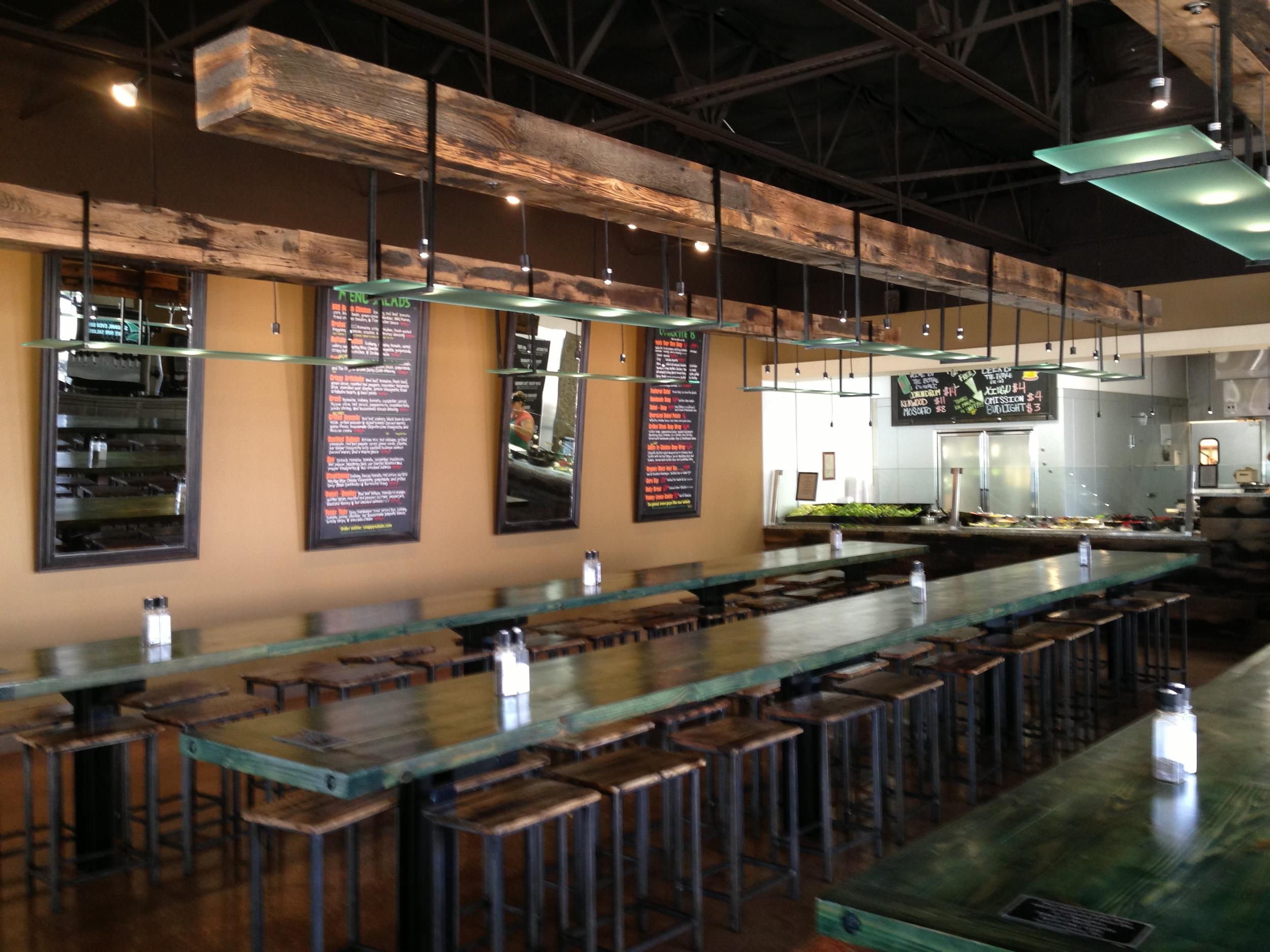 Green Snappy Tables   Wood Top Stools   Beam Light Fixtures