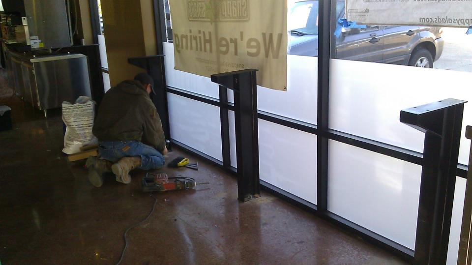 Installing bases for the window tables