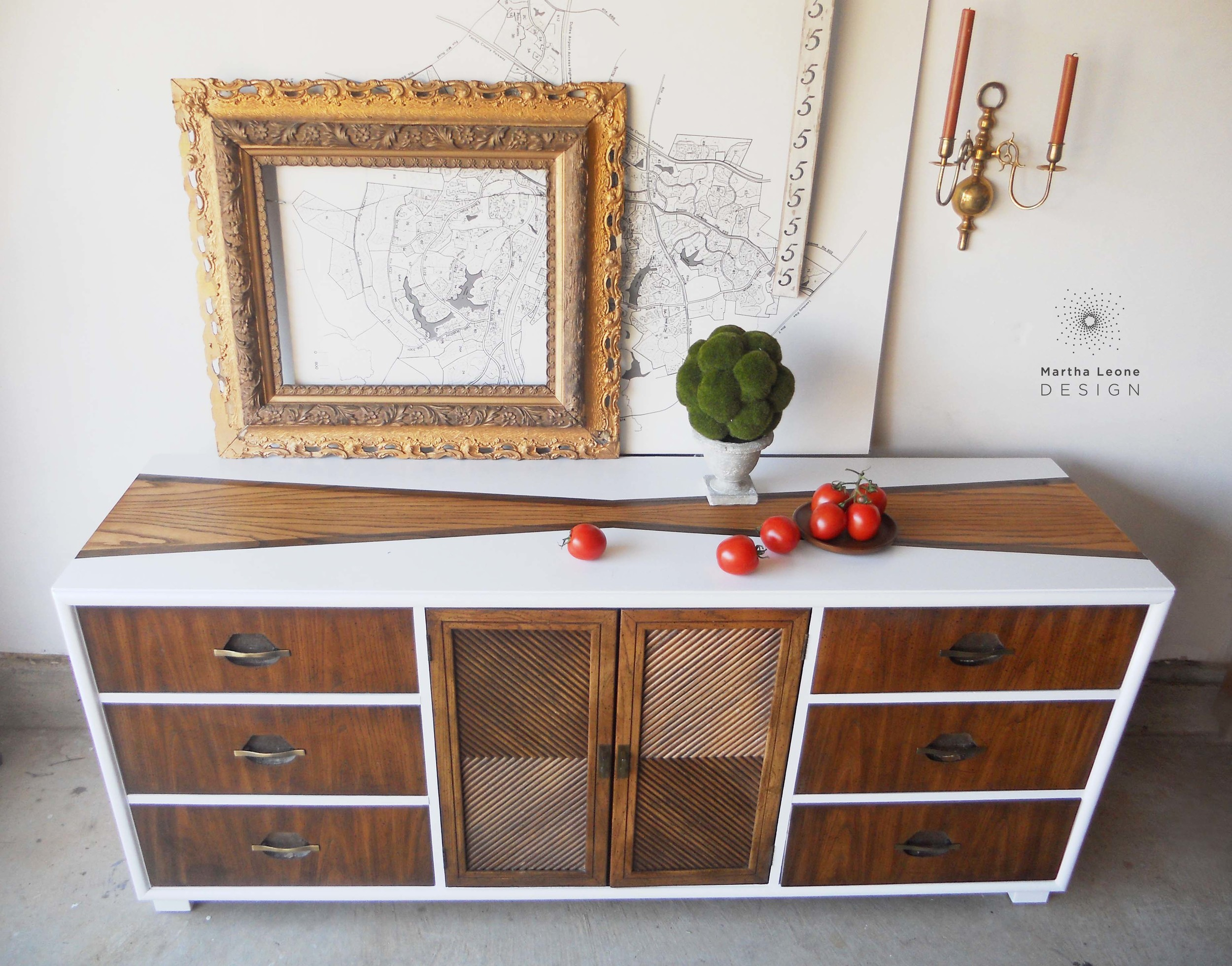 A mid century dresser in Benjamin Moore Super White