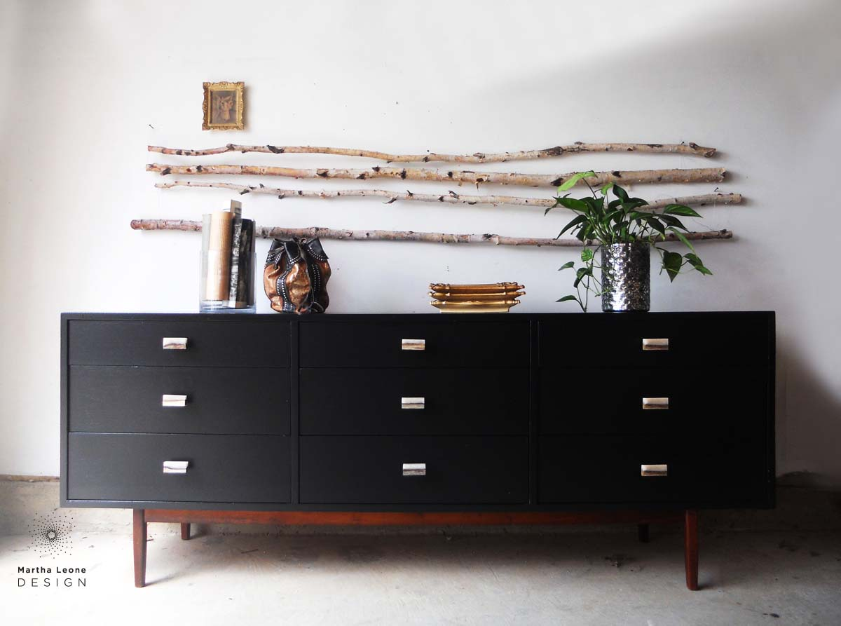 A mid century dresser in Benjamin Moore Black. How to style furniture.