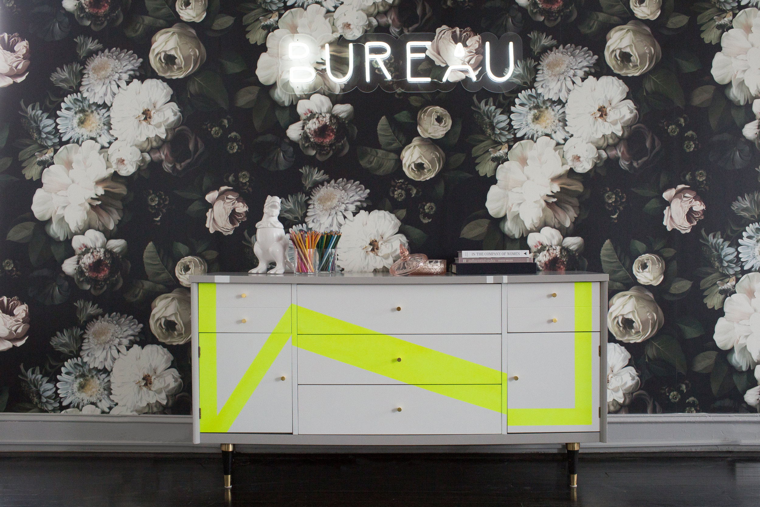 Custom credenza for    Bureau Studio    's    workspace.  Bureau Studio is a co-working and event studio based in Washington, DC. Interior Design. Interior Design:  Kerra Michele Interiors  • Photography:  Reema Desai