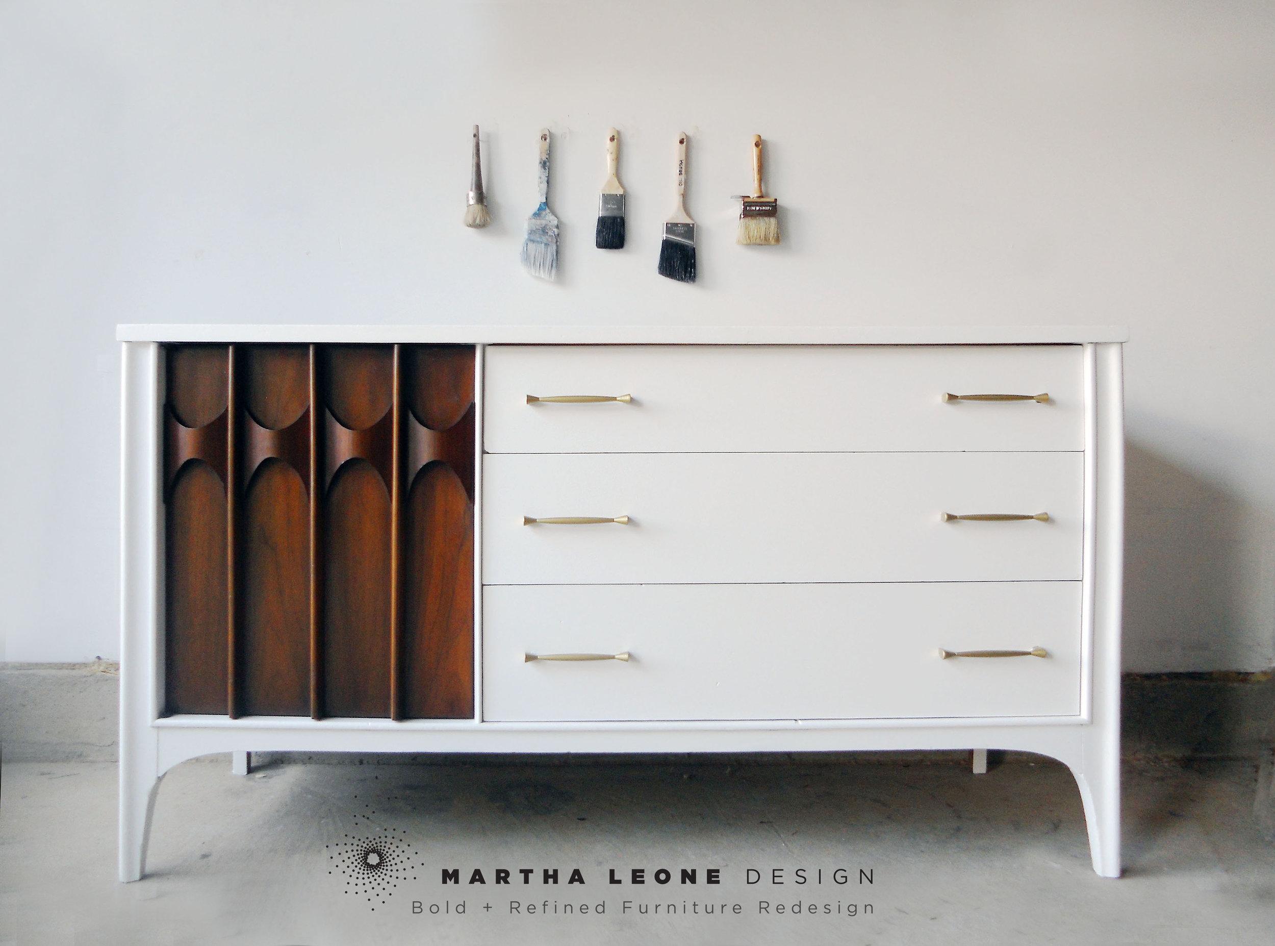 mid century modern, painted mid century furniture, mid century credenza, mid century buffet