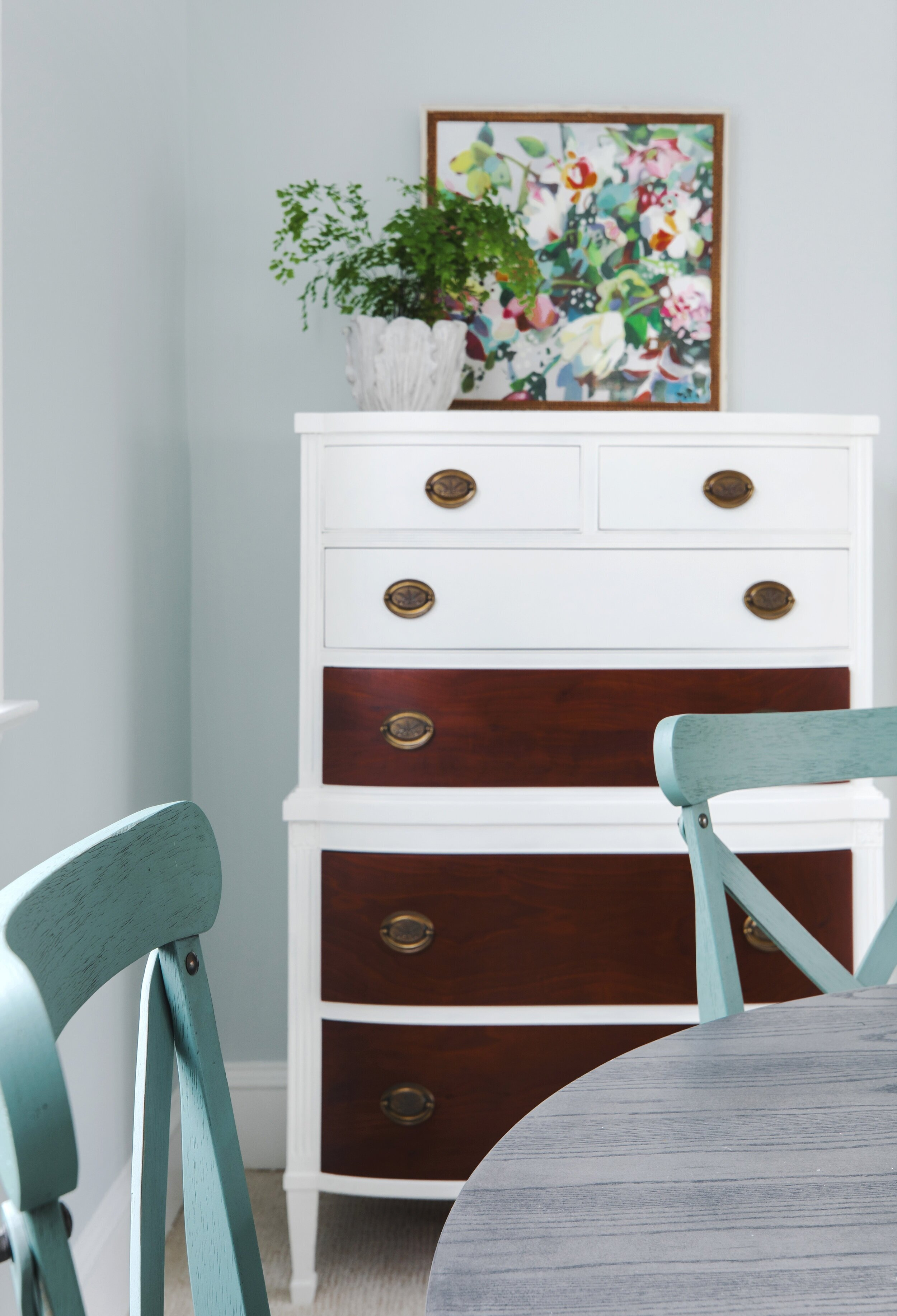Refinished and painted customer's heirloom dresser   Interior Design:  Mary Jo Major  • Photography:  Constance Mariena