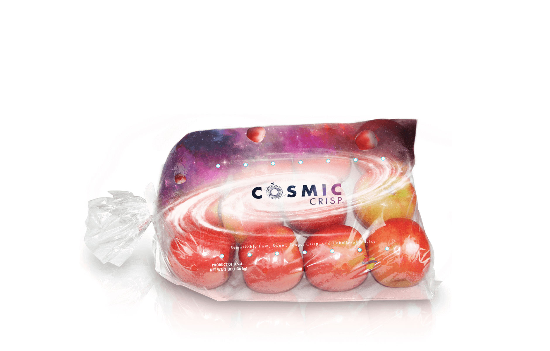 Polybag  • Clear bag with handle • Printed cosmos graphic with clear area to show product