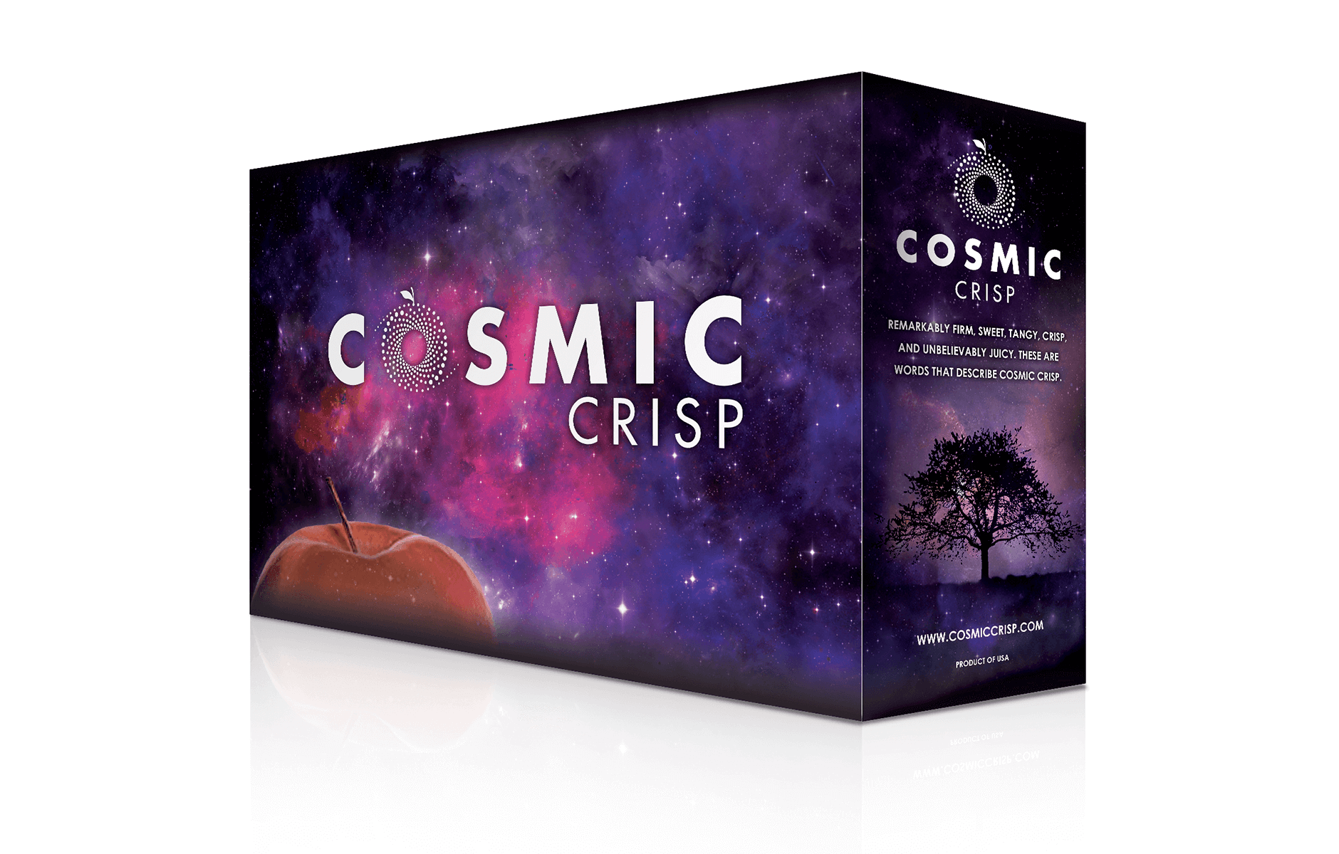 4 Box Sleeve (2)  • Fits over stack of four 40 lb. apple boxes, stacked two boxes high • Full logo on front panel over nebula image and planetary apple in front • Logo, varietal text and website on side panel