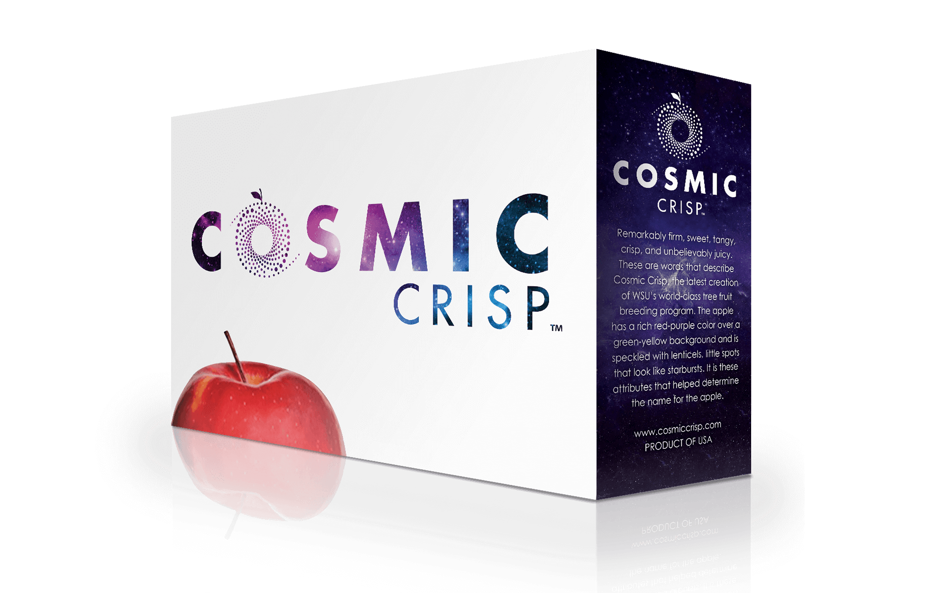 4 Box Sleeve (1)  • Fits over stack of four 40 lb. apple boxes, stacked two boxes high • Full logo on white front panel with variety text and website on cosmic graphic side panel